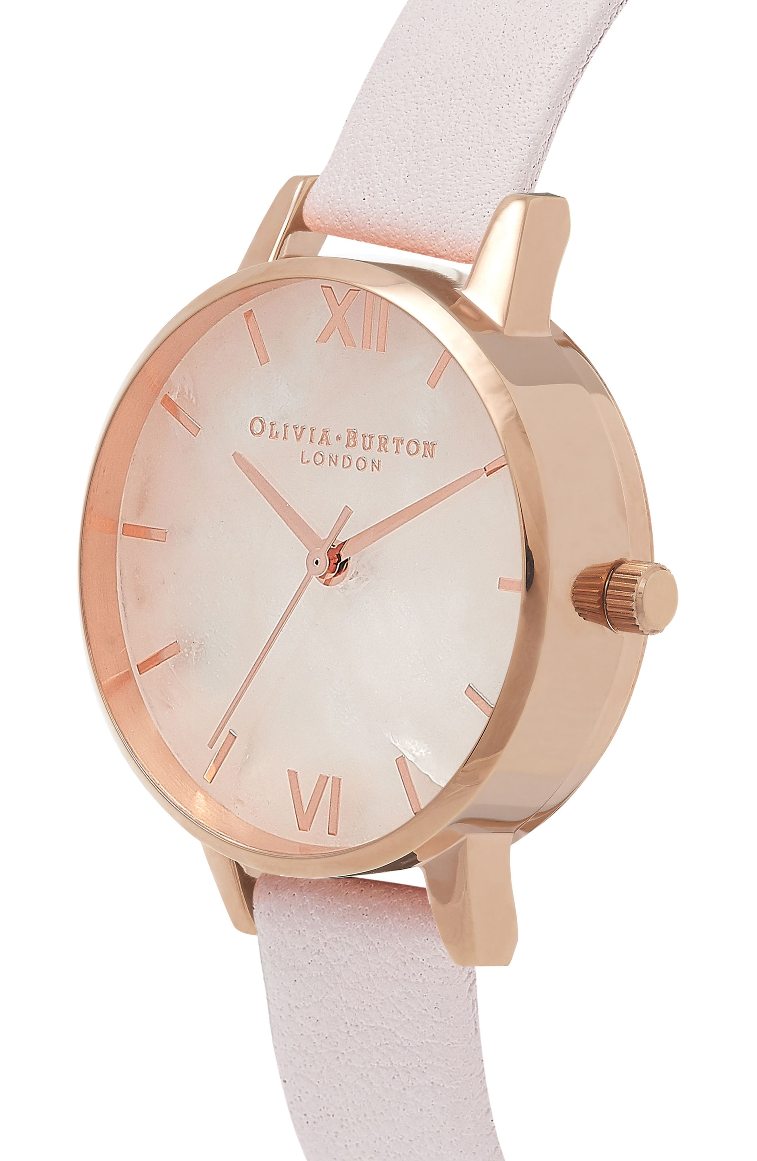 Leather Strap Watch, 30mm,                             Alternate thumbnail 4, color,                             BLOSSOM/ ROSE/ ROSE GOLD