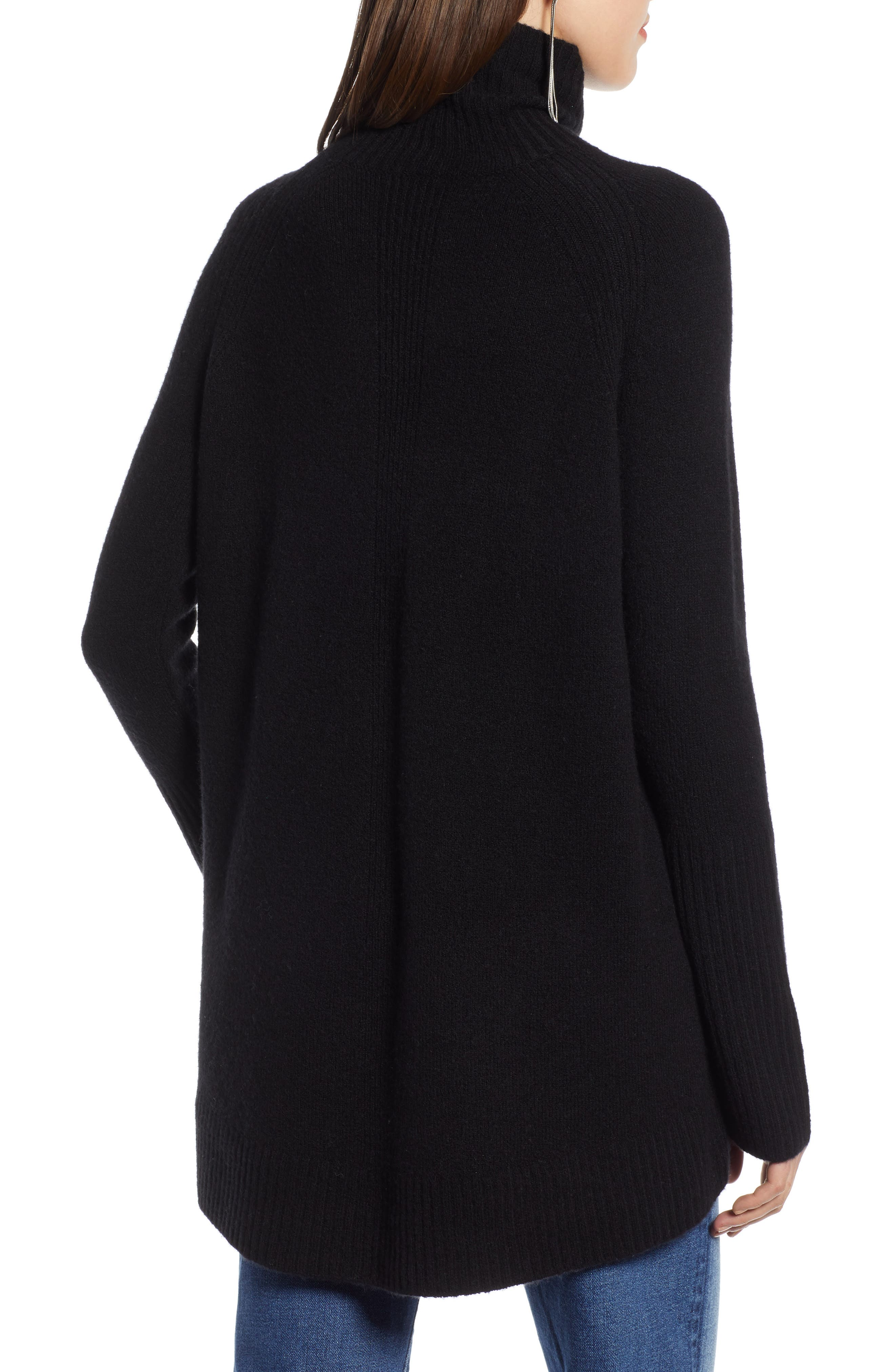 High Low Oversize Wool Blend Sweater,                             Alternate thumbnail 3, color,                             BLACK