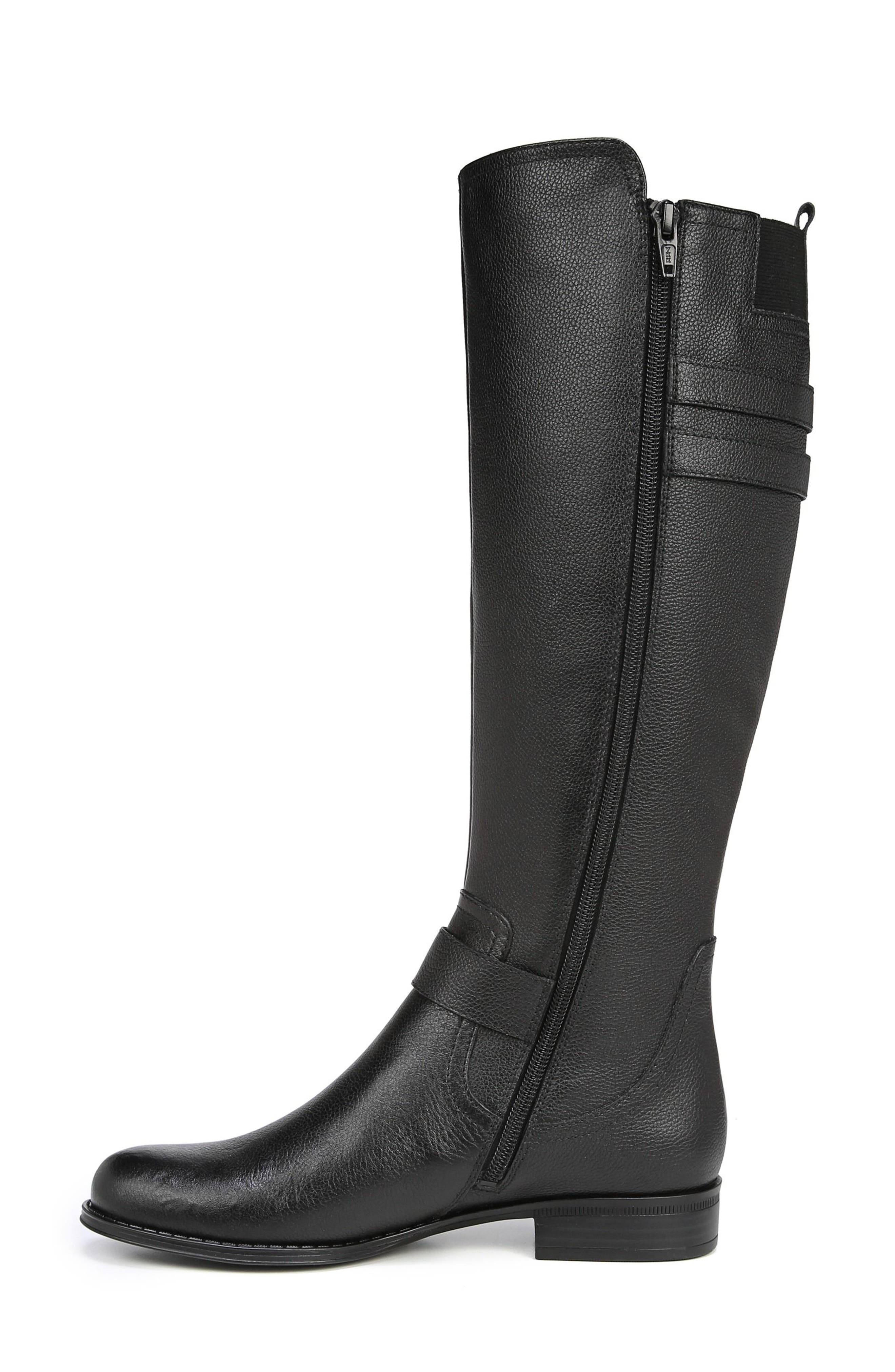 Jessie Knee High Riding Boot,                             Alternate thumbnail 8, color,                             BLACK LEATHER