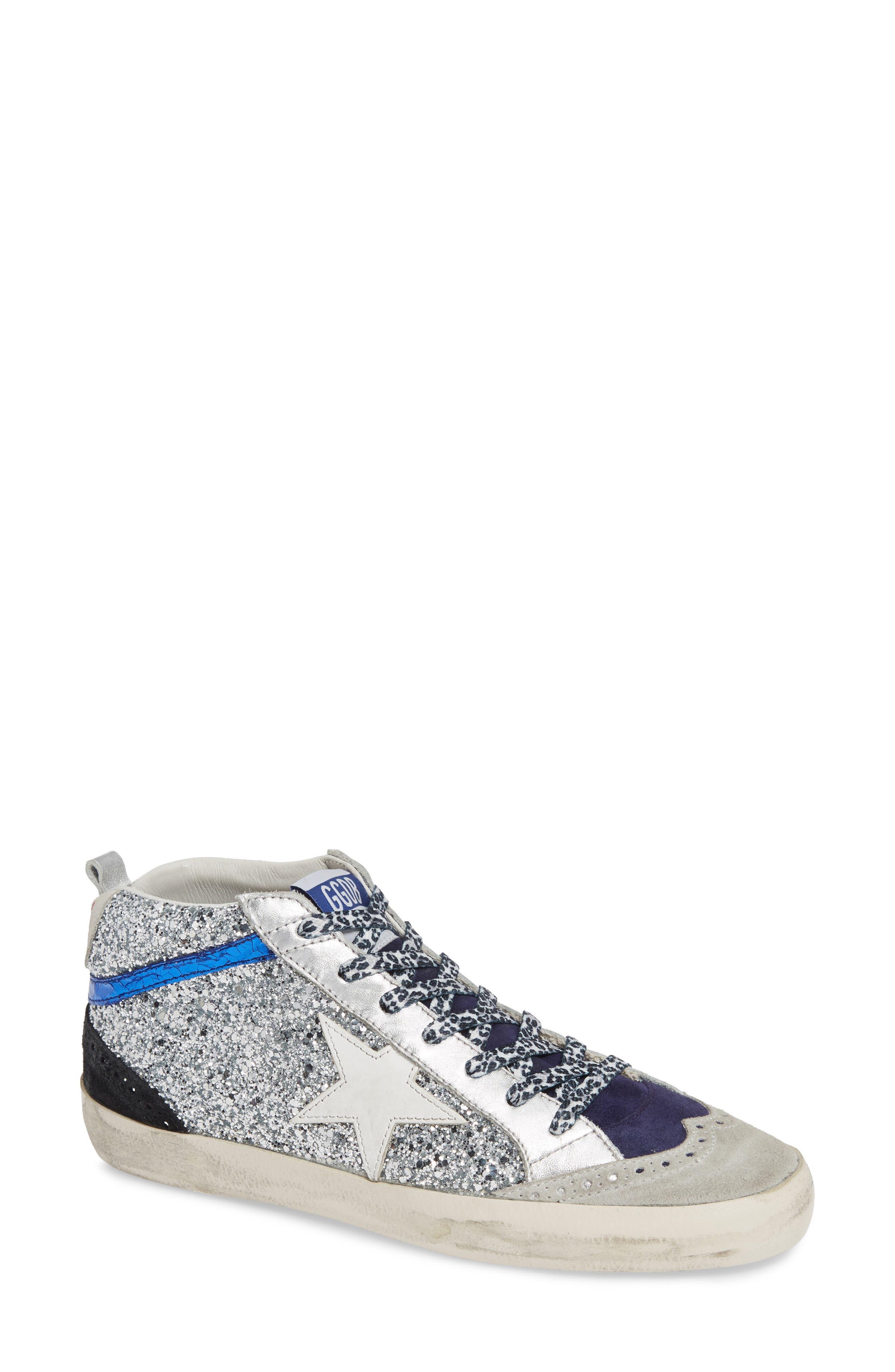 Mid Star Glitter Sneaker,                             Main thumbnail 1, color,                             SILVER/ WHITE