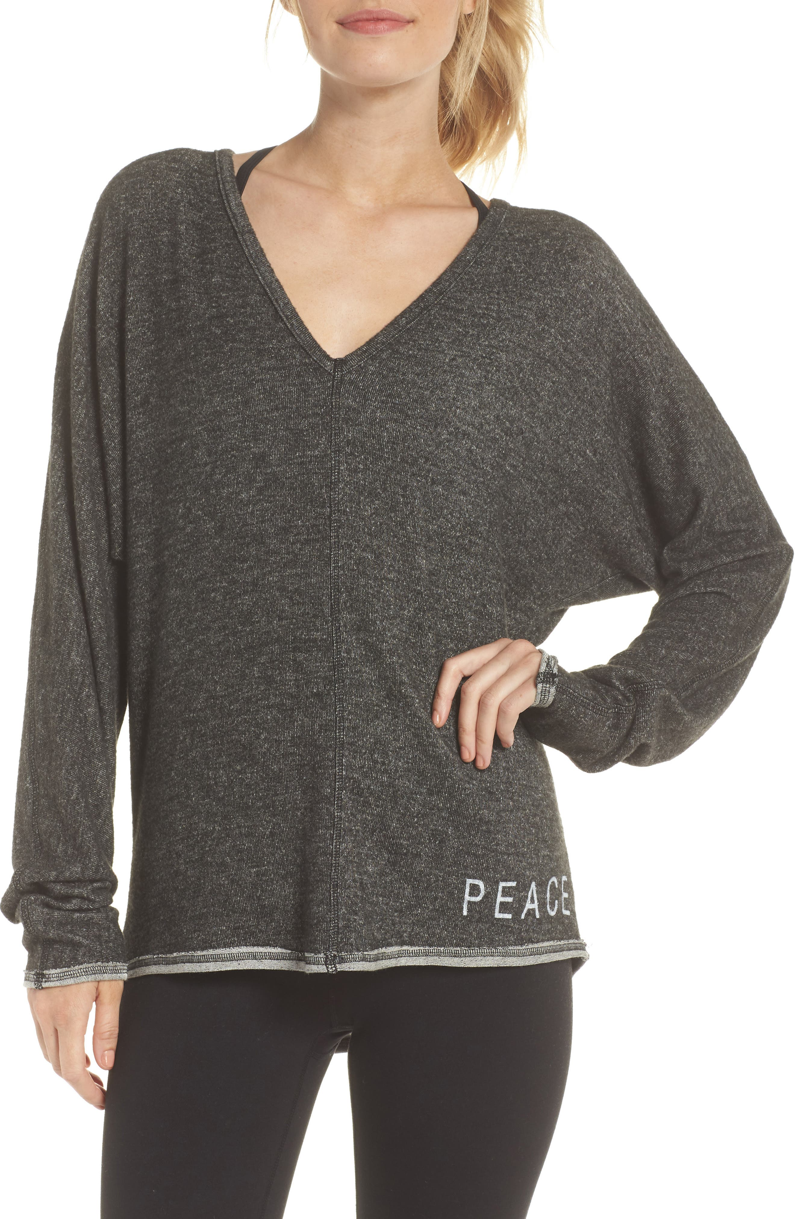 Peace & Love Pullover Sweater,                             Main thumbnail 1, color,                             HEATHER