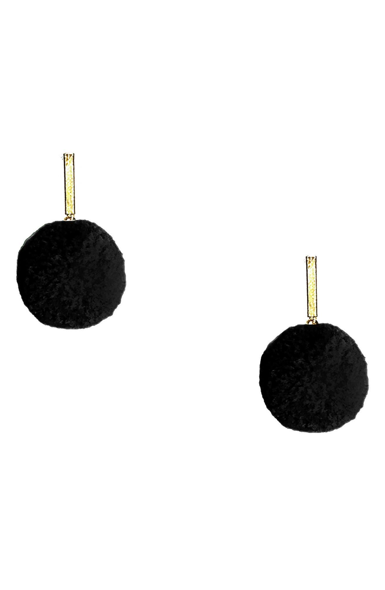 Velvet Pompom Stud Earrings,                         Main,                         color, 001