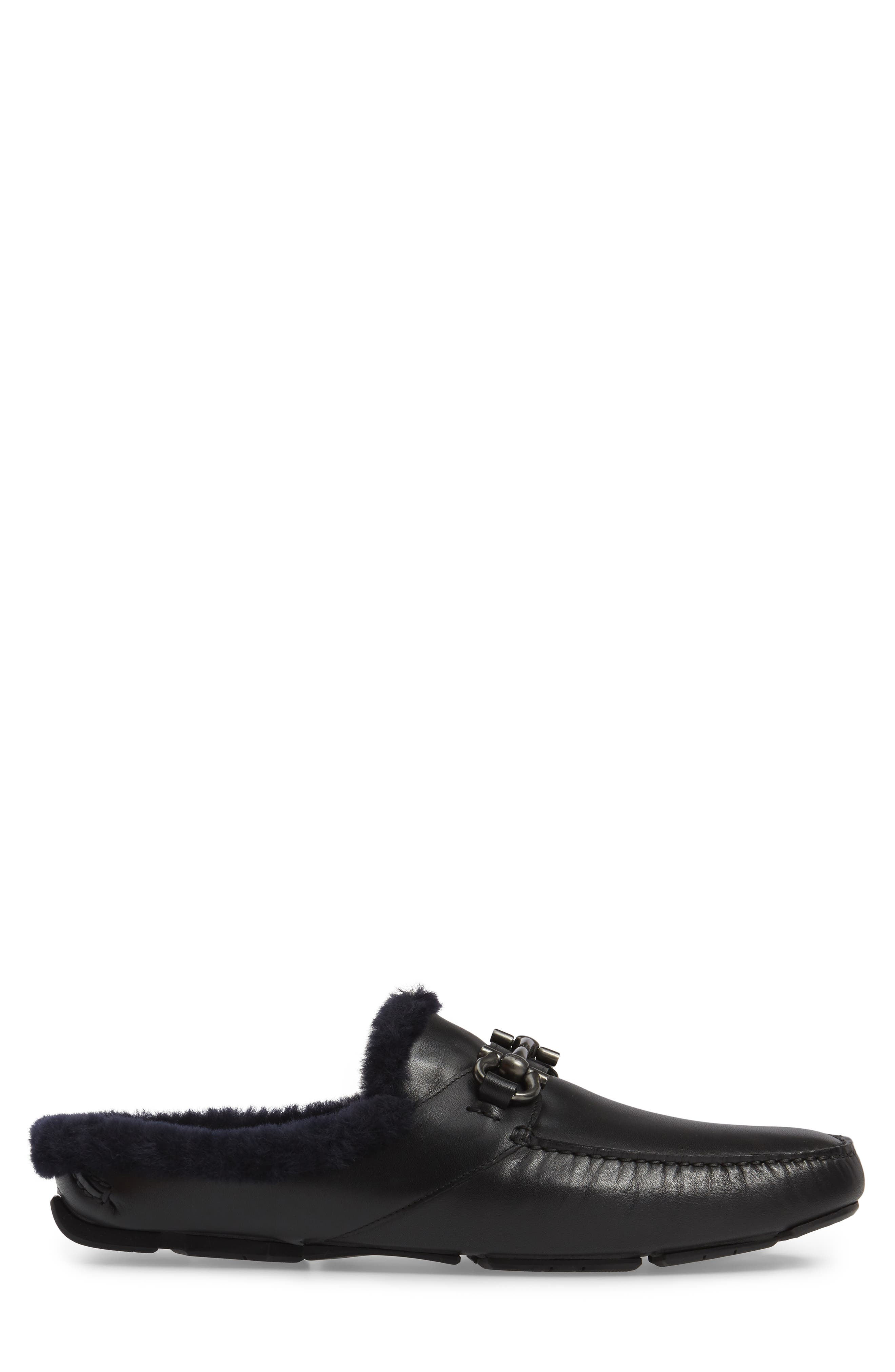 Driving Loafer with Genuine Shearling,                             Alternate thumbnail 3, color,                             001