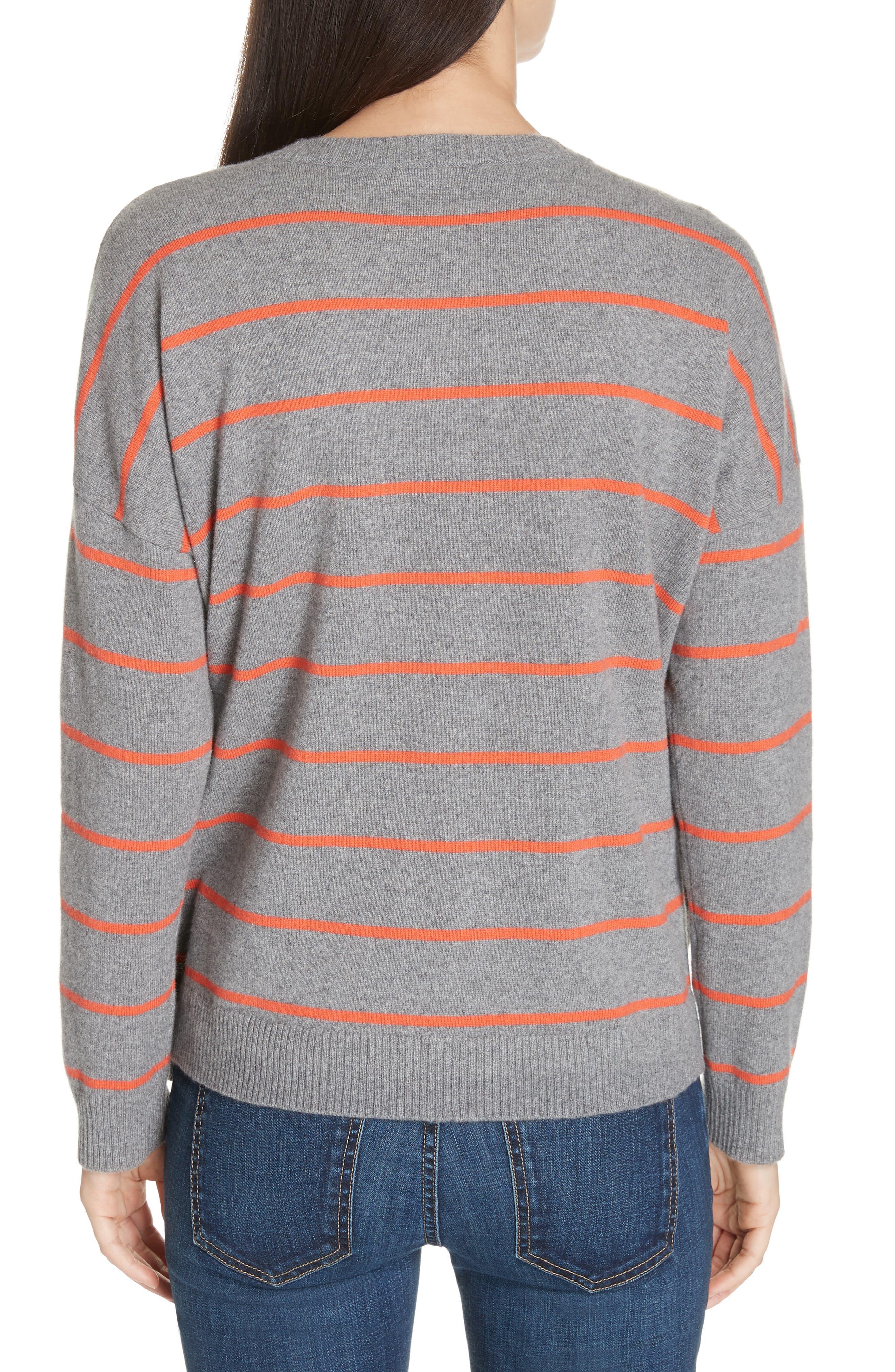 Stripe Boxy Cashmere & Wool Sweater,                             Alternate thumbnail 2, color,                             ASH