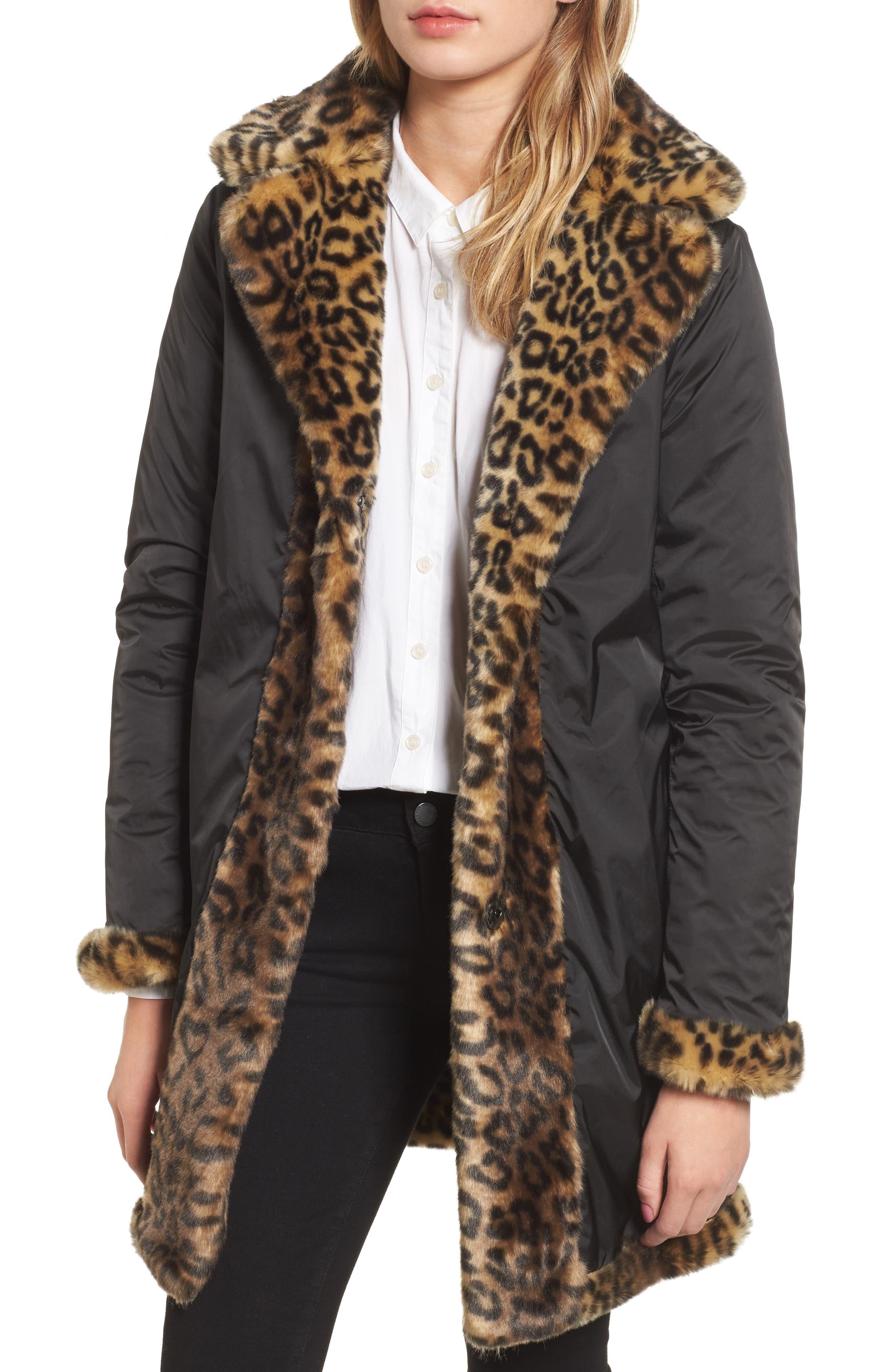 Reversible Cheetah Print Faux Fur Jacket,                             Alternate thumbnail 4, color,                             254