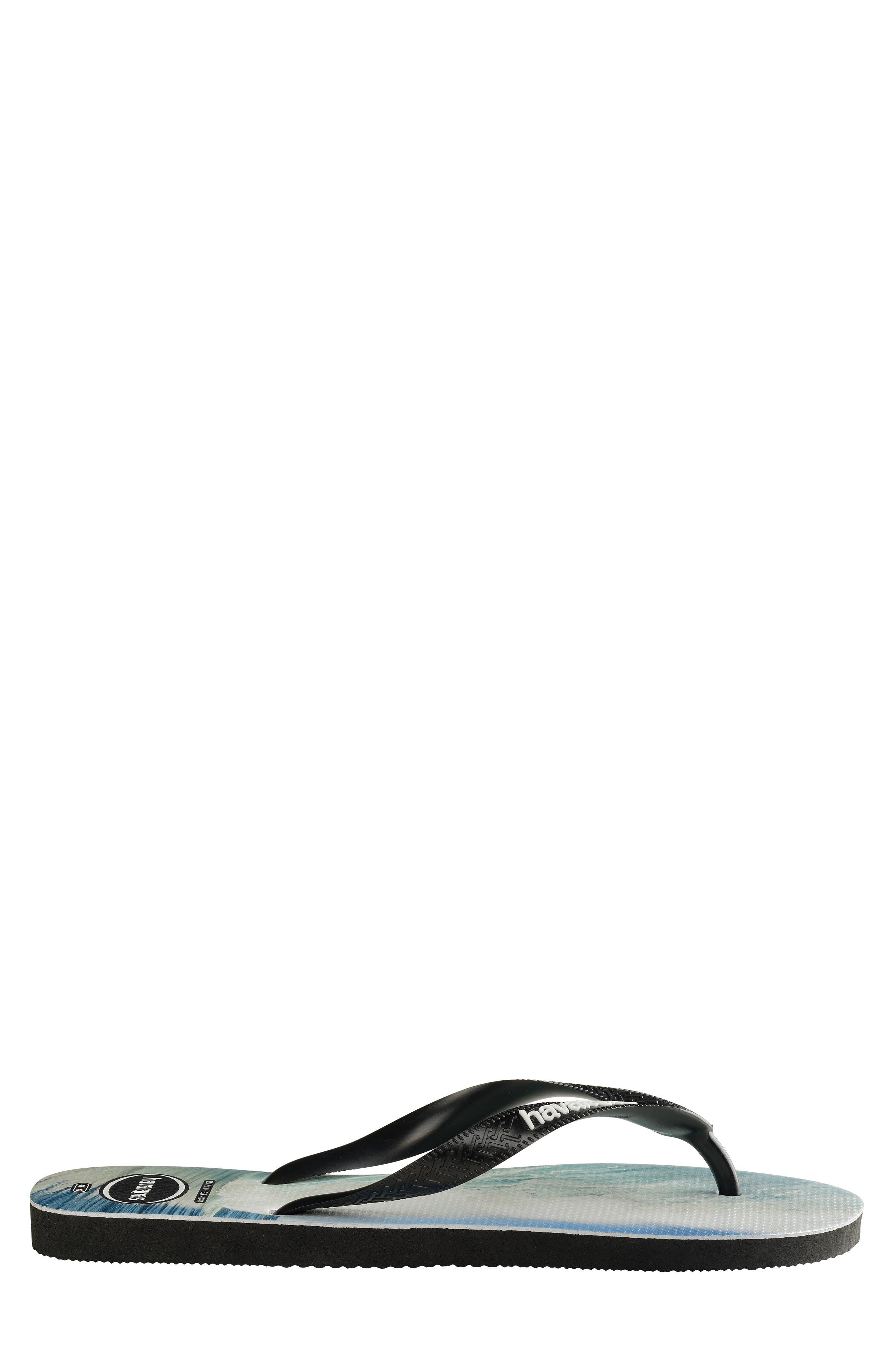 HAVAIANAS,                             Top Photo Print Flip Flop,                             Alternate thumbnail 3, color,                             BLACK/ BLACK/ BLUE