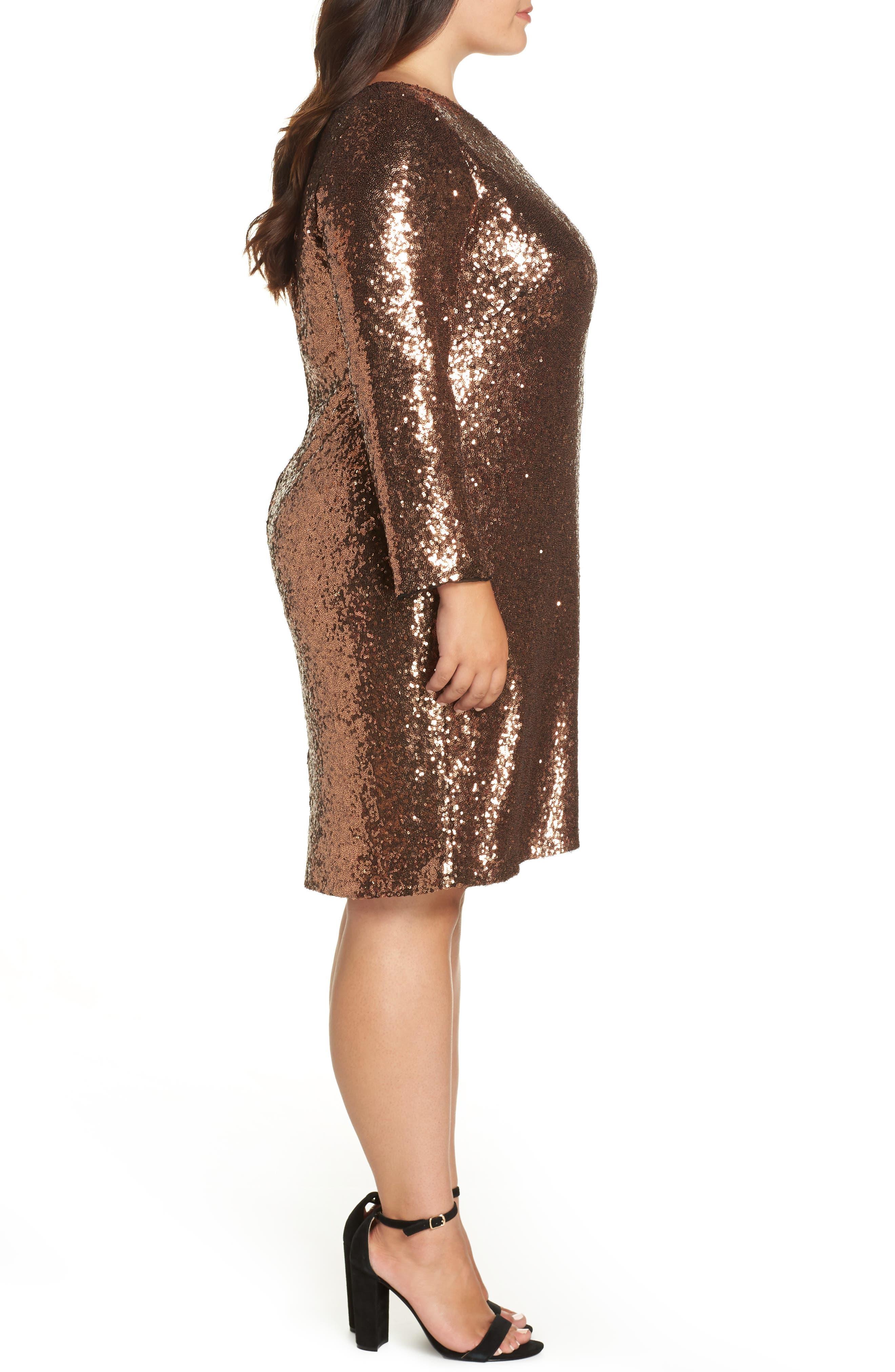 One Shoulder Sequin Party Dress,                             Alternate thumbnail 3, color,                             COPPER
