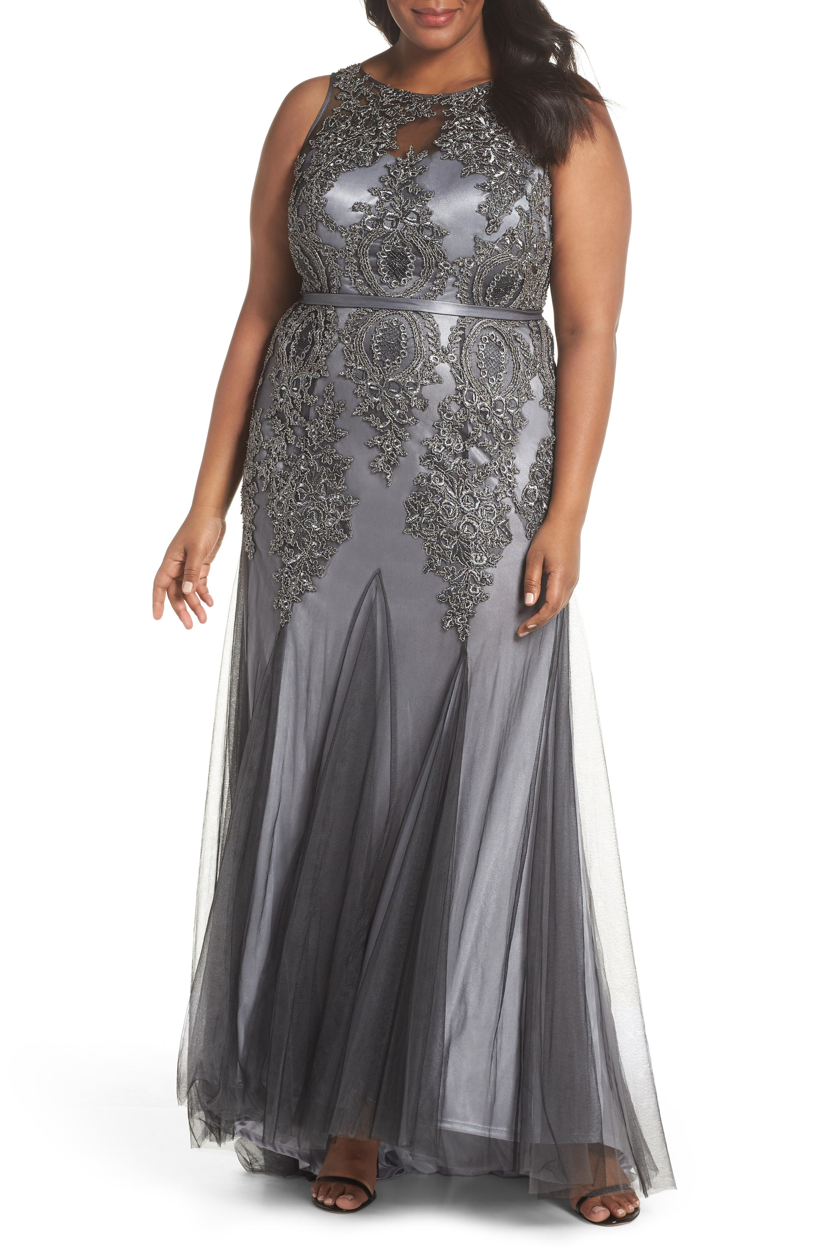 Beaded Godet Mesh Trumpet Gown,                         Main,                         color, CHARCOAL