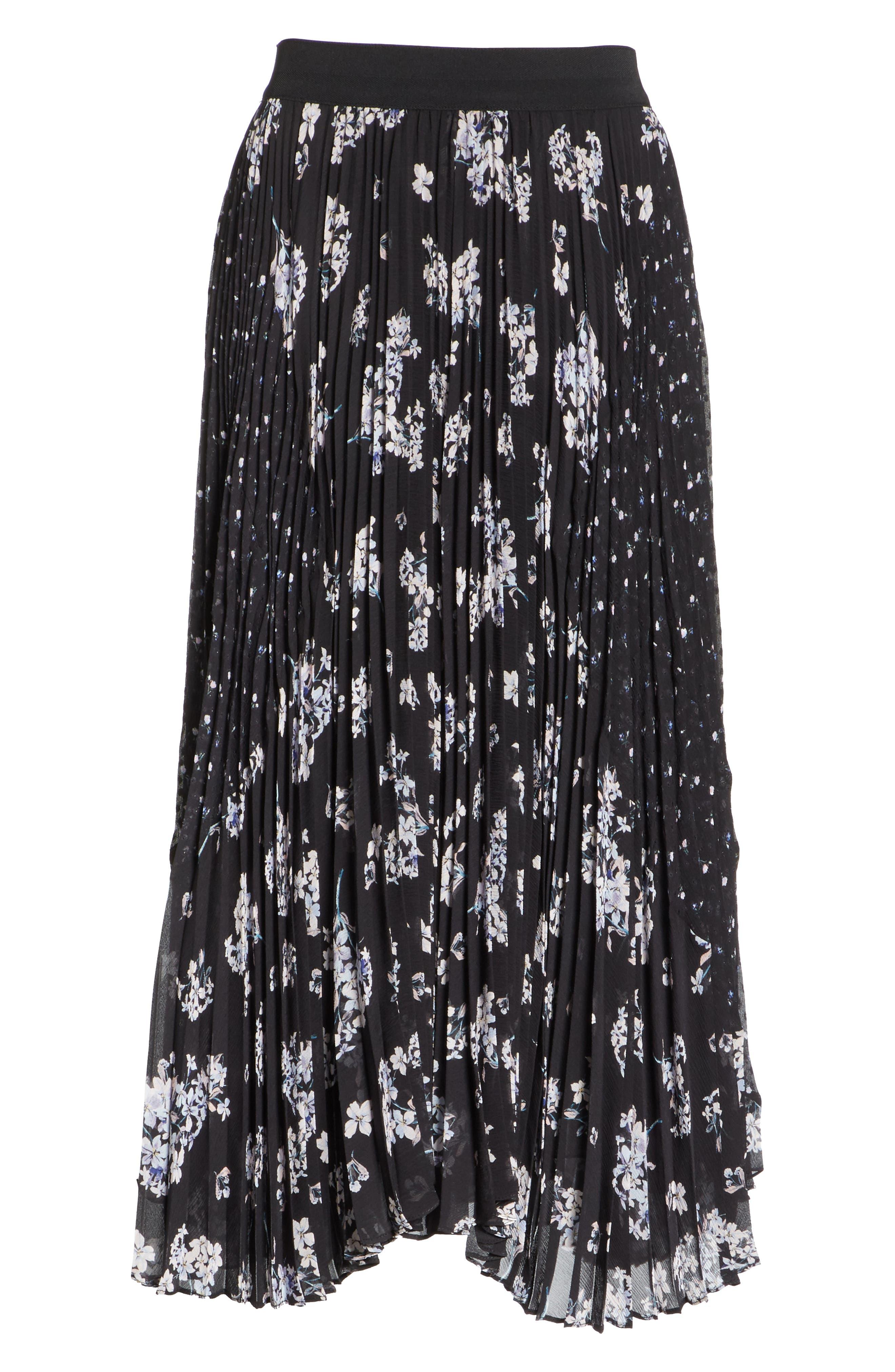 Pleated Hydrangea Skirt,                             Alternate thumbnail 6, color,                             BLACK COMBO