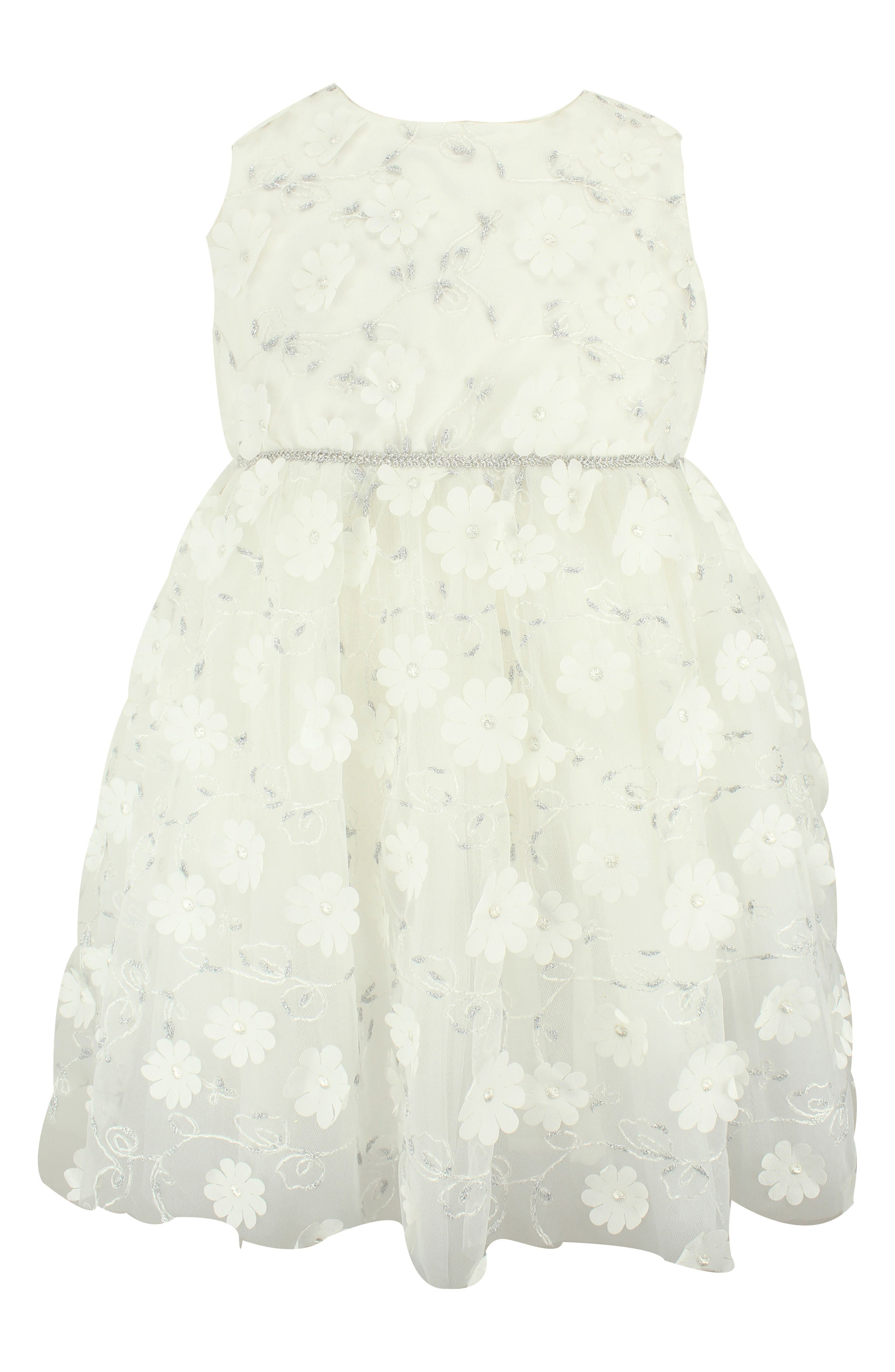 Floral & Metallic Embroidery Tulle Dress,                             Main thumbnail 1, color,                             WHITE