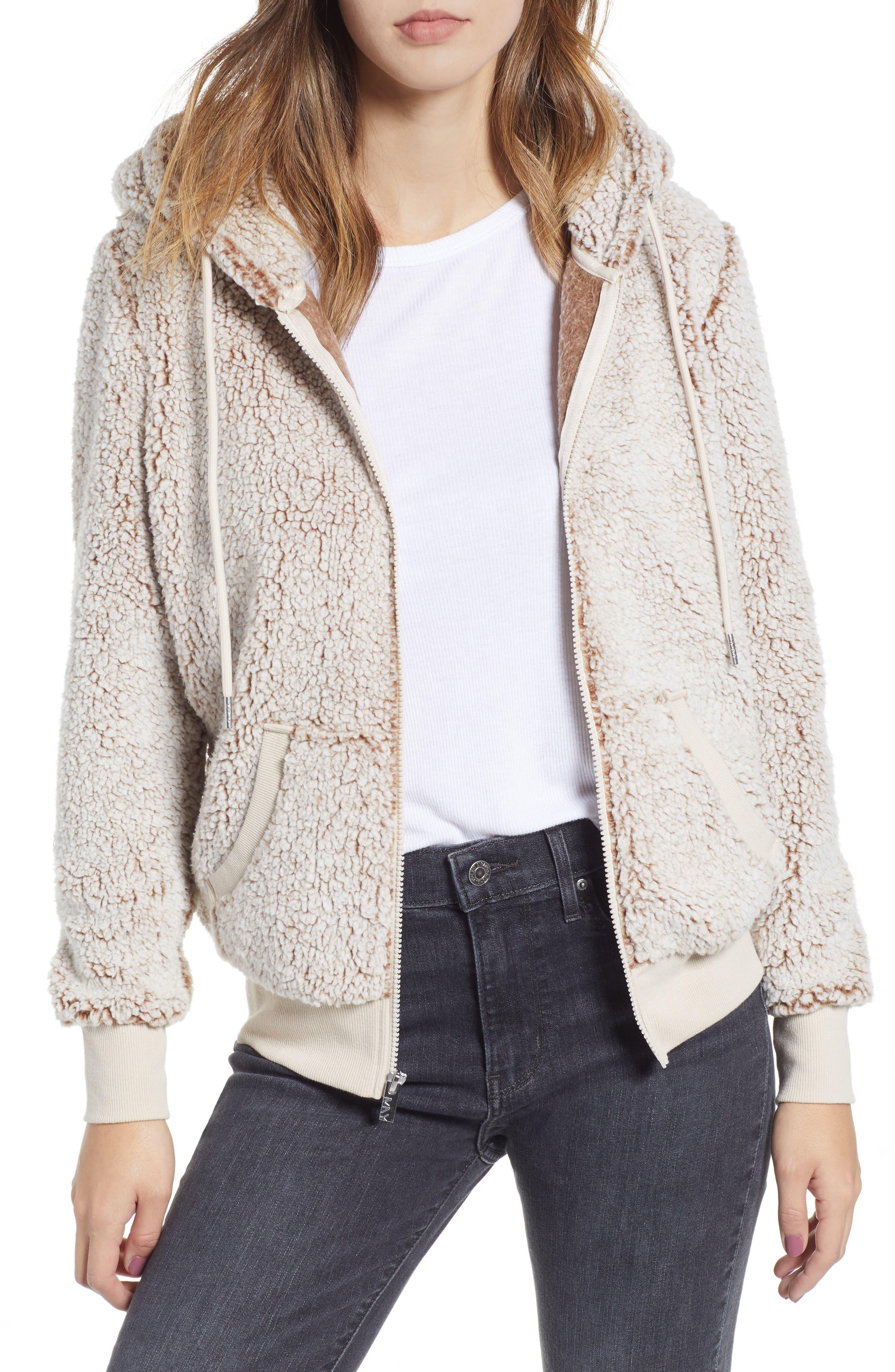 Teddy Fleece Zip Jacket,                         Main,                         color, BROWN