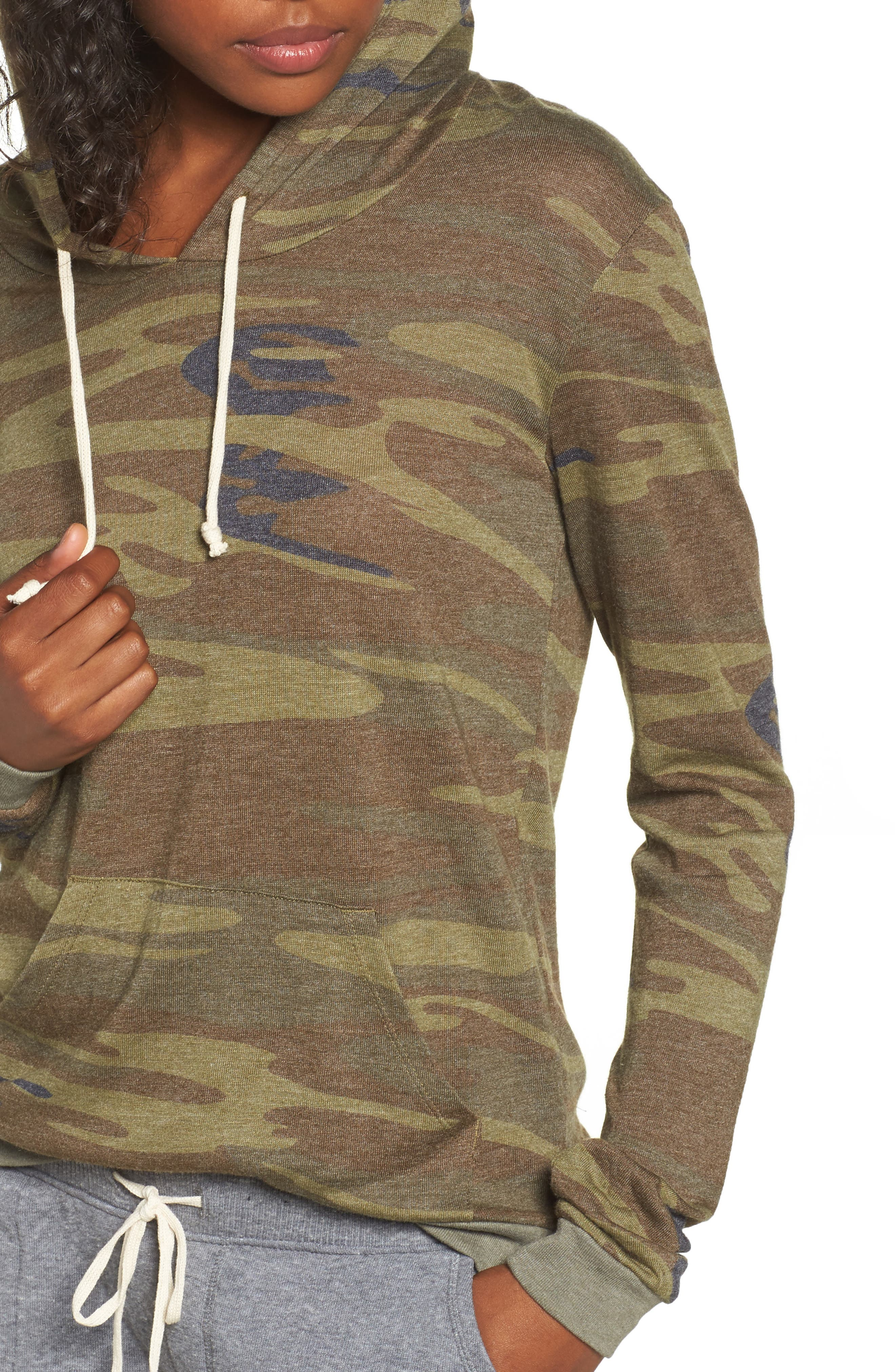 Camo Print Pullover Hoodie,                             Alternate thumbnail 4, color,                             300