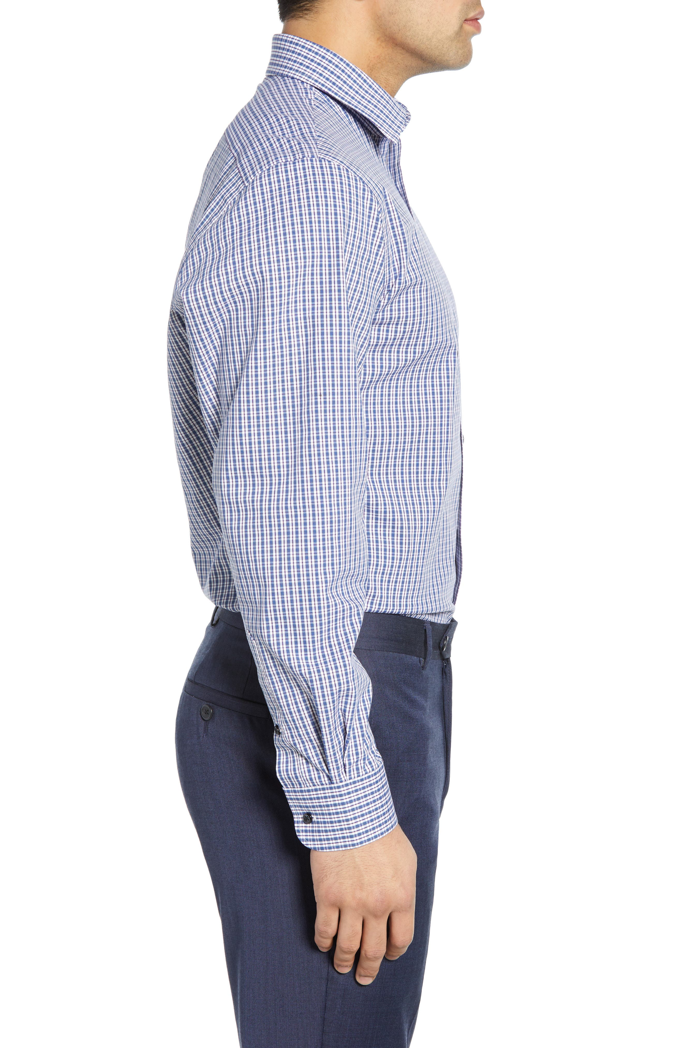 Tech-Smart Traditional Fit Plaid Stretch Dress Shirt,                             Alternate thumbnail 4, color,                             NAVY DUSK