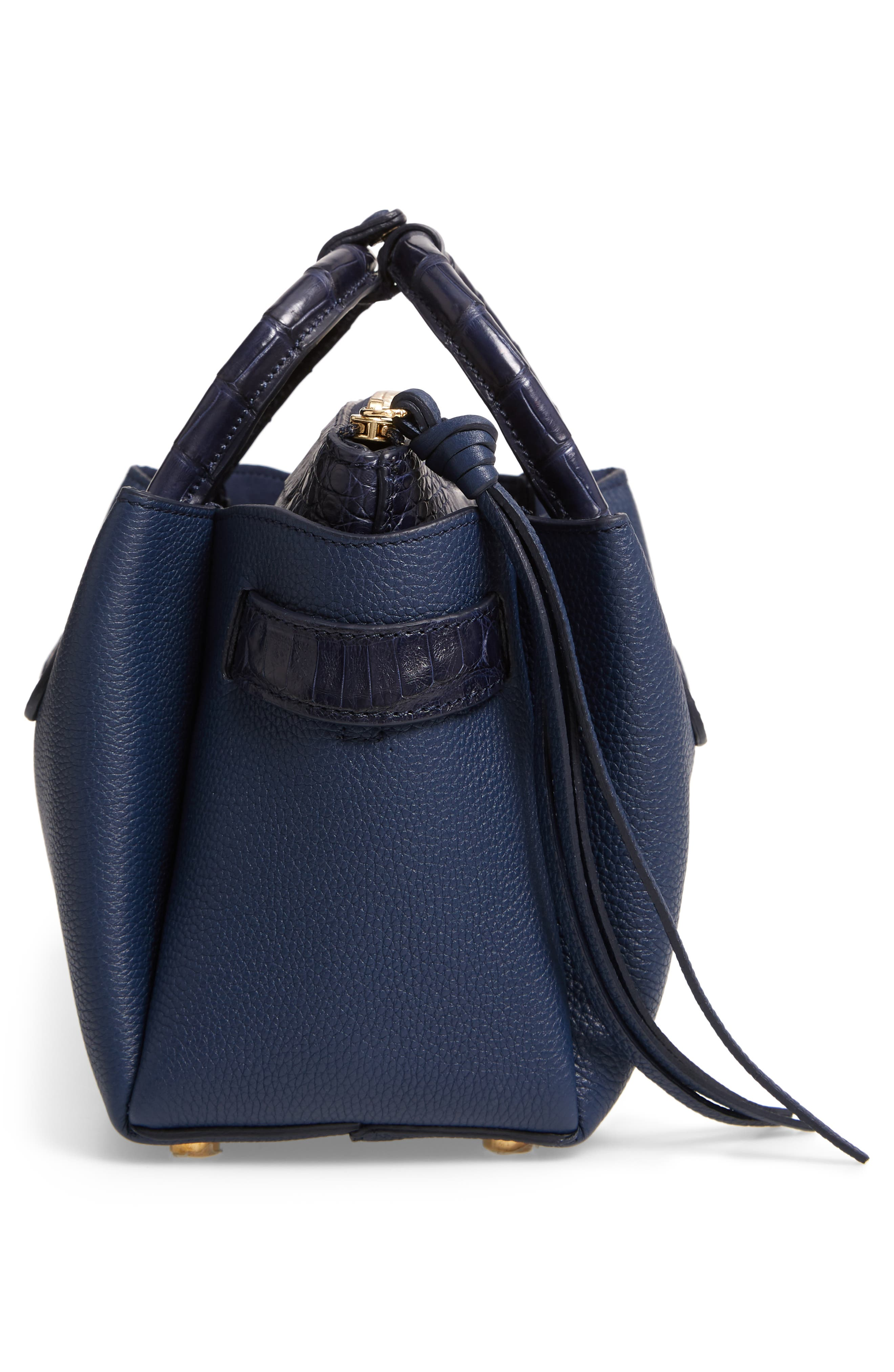 Mini Cristie Leather & Genuine Crocodile Satchel,                             Alternate thumbnail 6, color,                             DARK NAVY