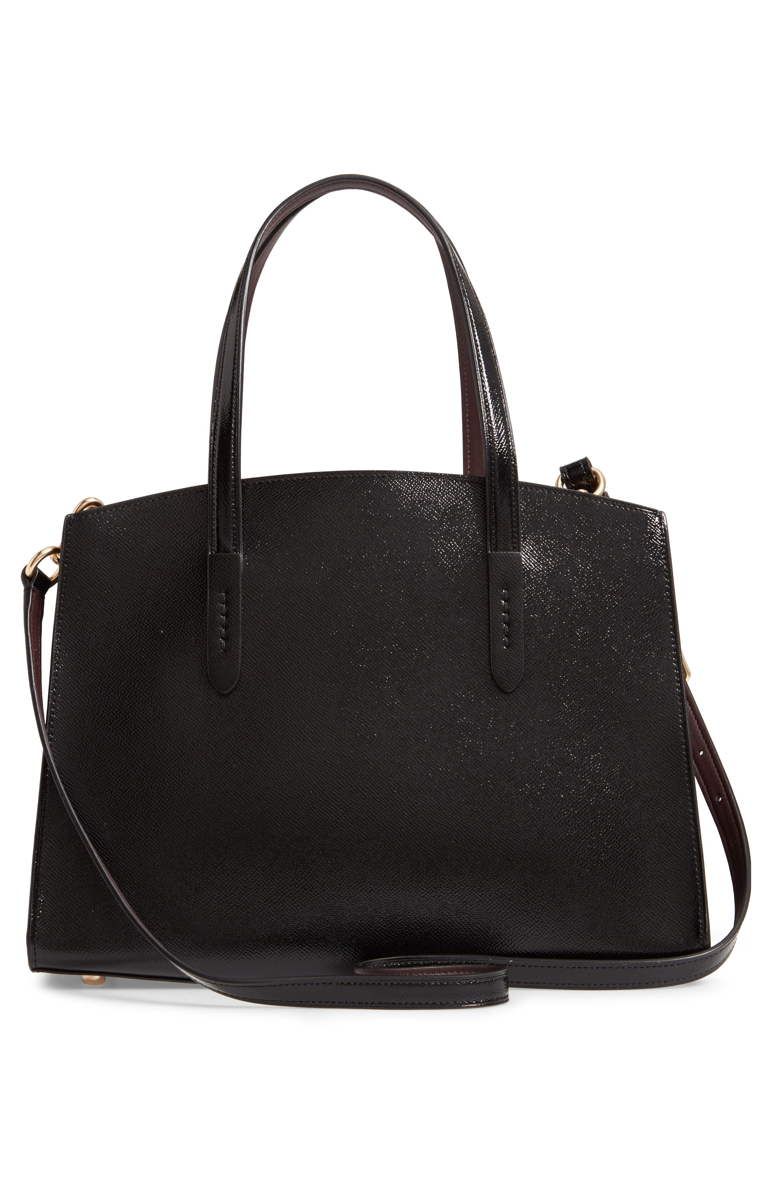 COACH,                             Charlie Patent Leather Tote,                             Alternate thumbnail 3, color,                             BLACK