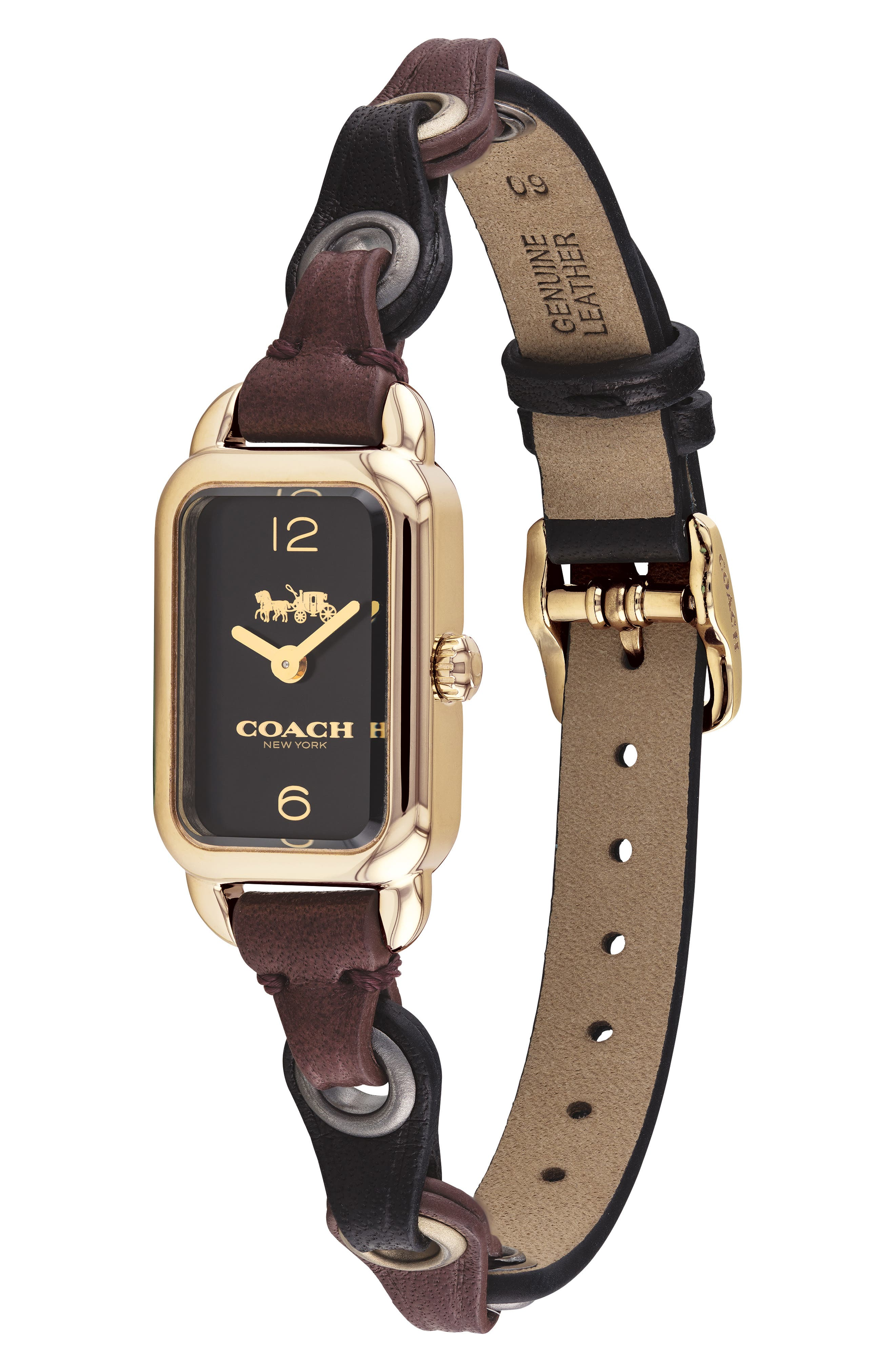Ludlow Rectangular Leather Strap Watch, 17mm,                             Alternate thumbnail 3, color,                             001