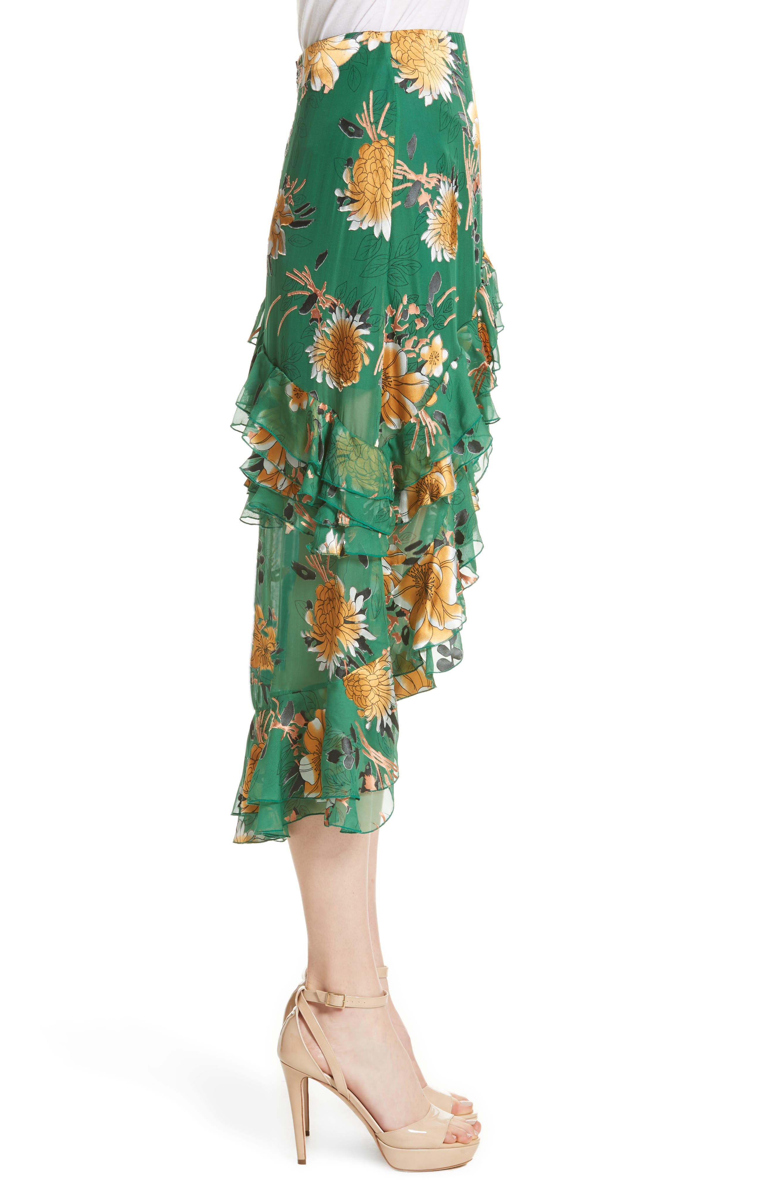 Sasha Ruffled Asymmetrical Floral Skirt,                             Alternate thumbnail 3, color,