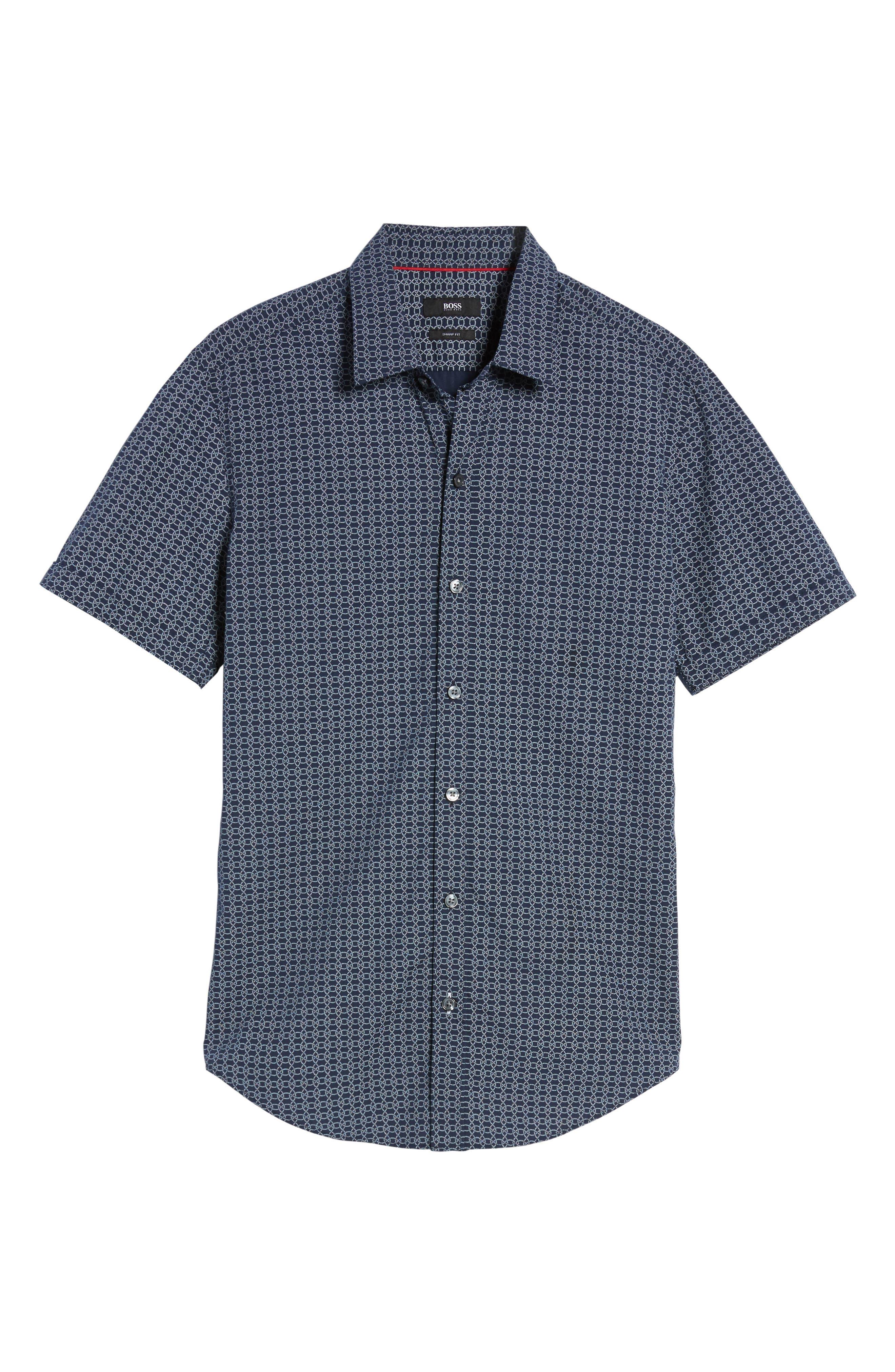 Robb Sharp Fit Knot Print Sport Shirt,                             Alternate thumbnail 6, color,                             410