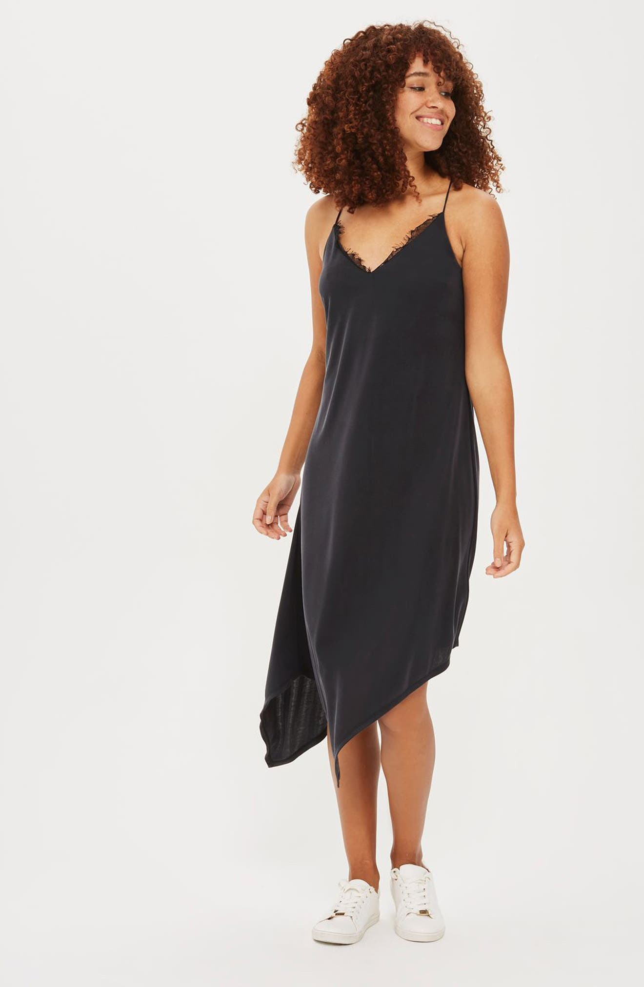 Asymmetrical Slipdress,                             Alternate thumbnail 3, color,                             001
