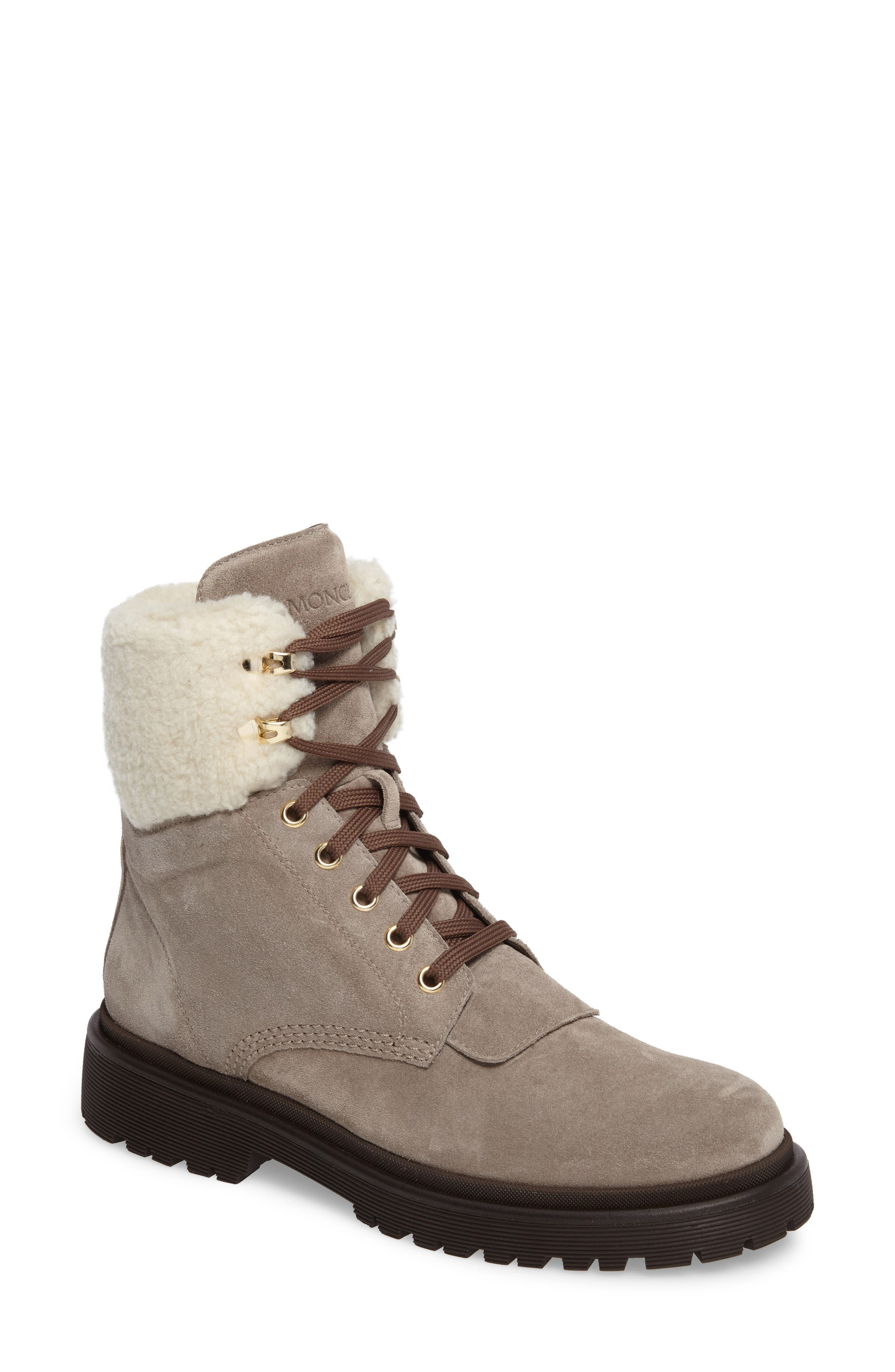 Patty Scarpa Faux Shearling Cuff Boot,                             Main thumbnail 1, color,                             BEIGE