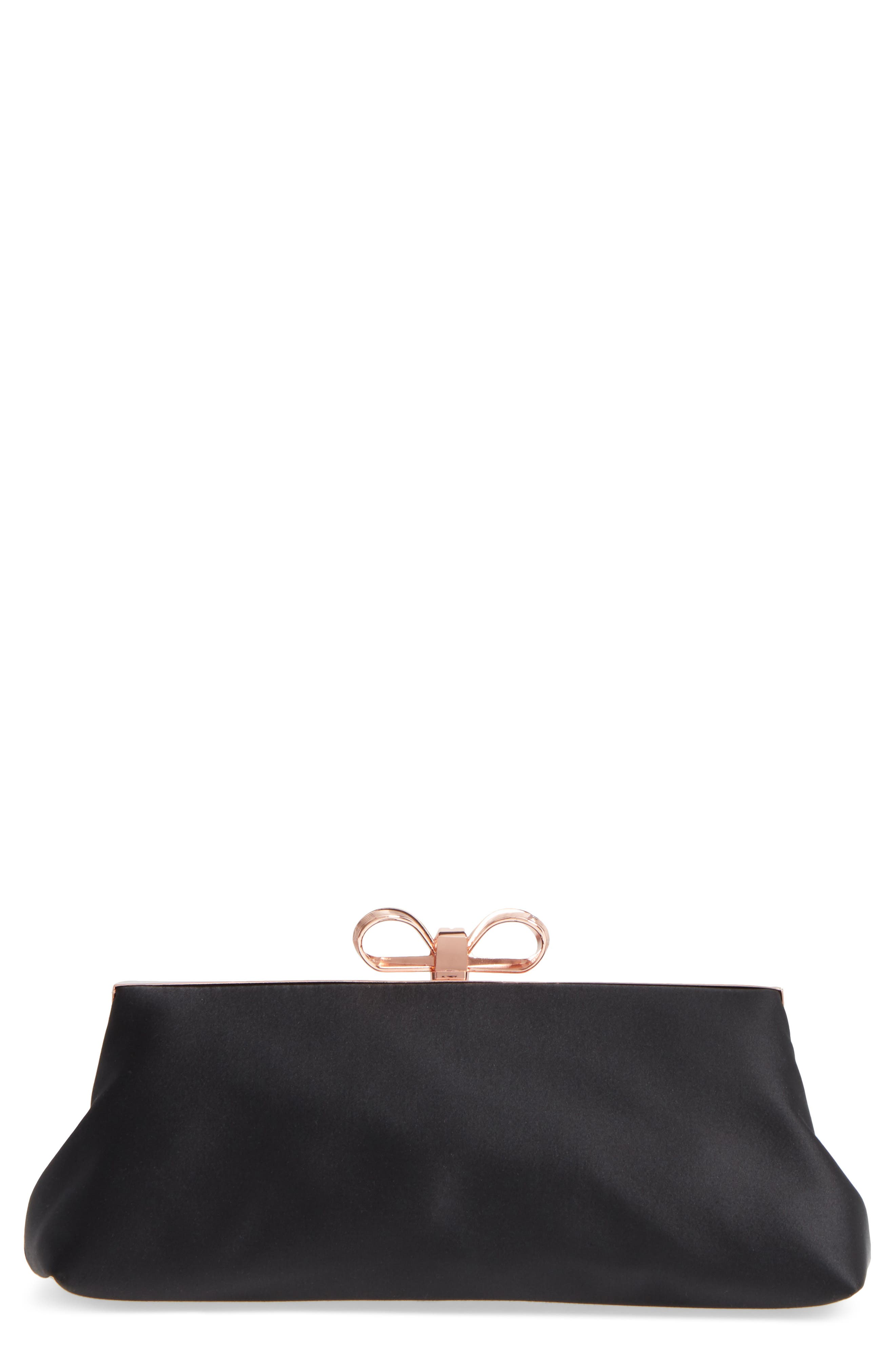 Small Coletta Bow Satin Clutch,                             Main thumbnail 1, color,                             001