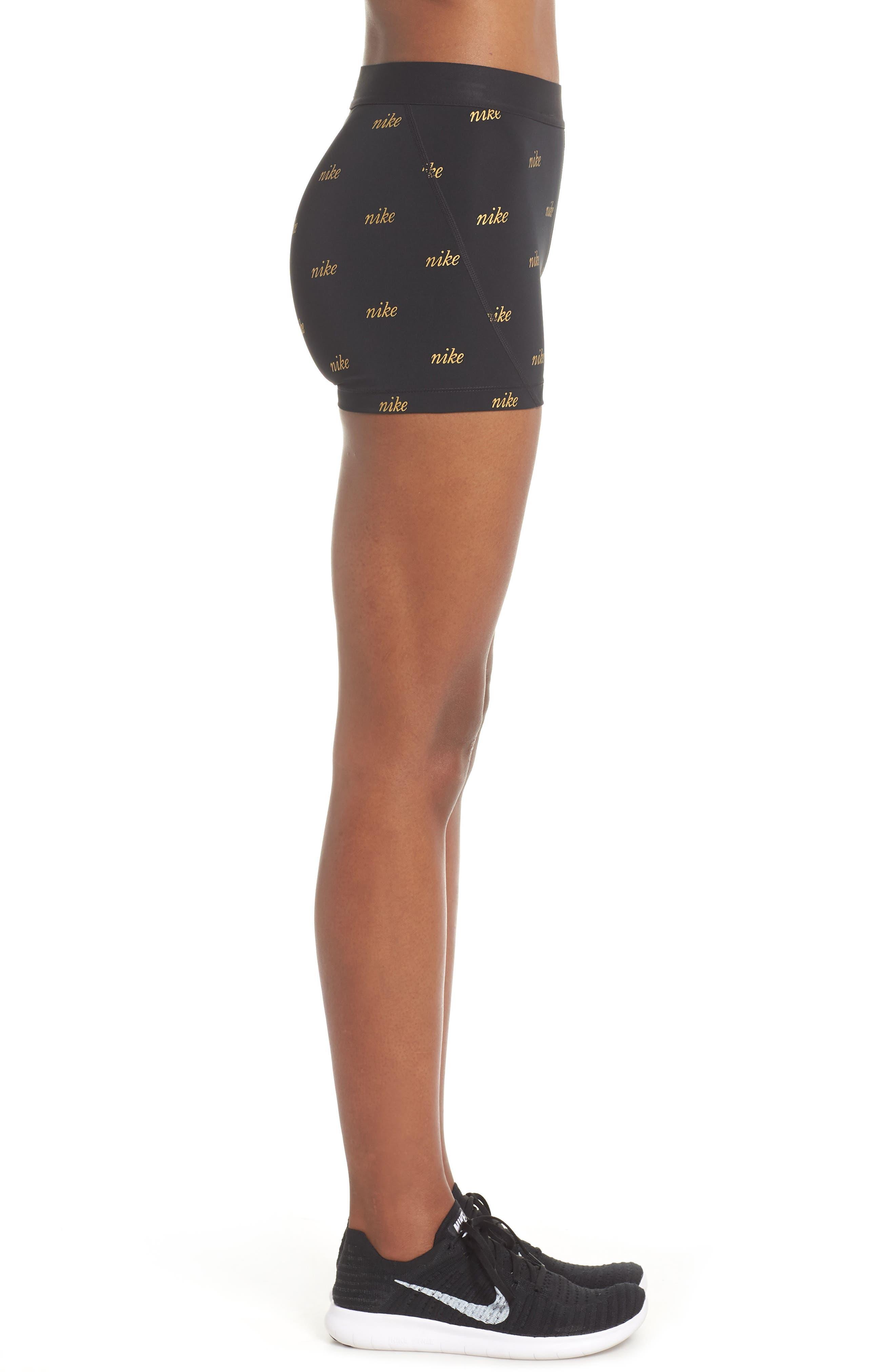 Pro Metallic Shorts,                             Alternate thumbnail 4, color,                             BLACK