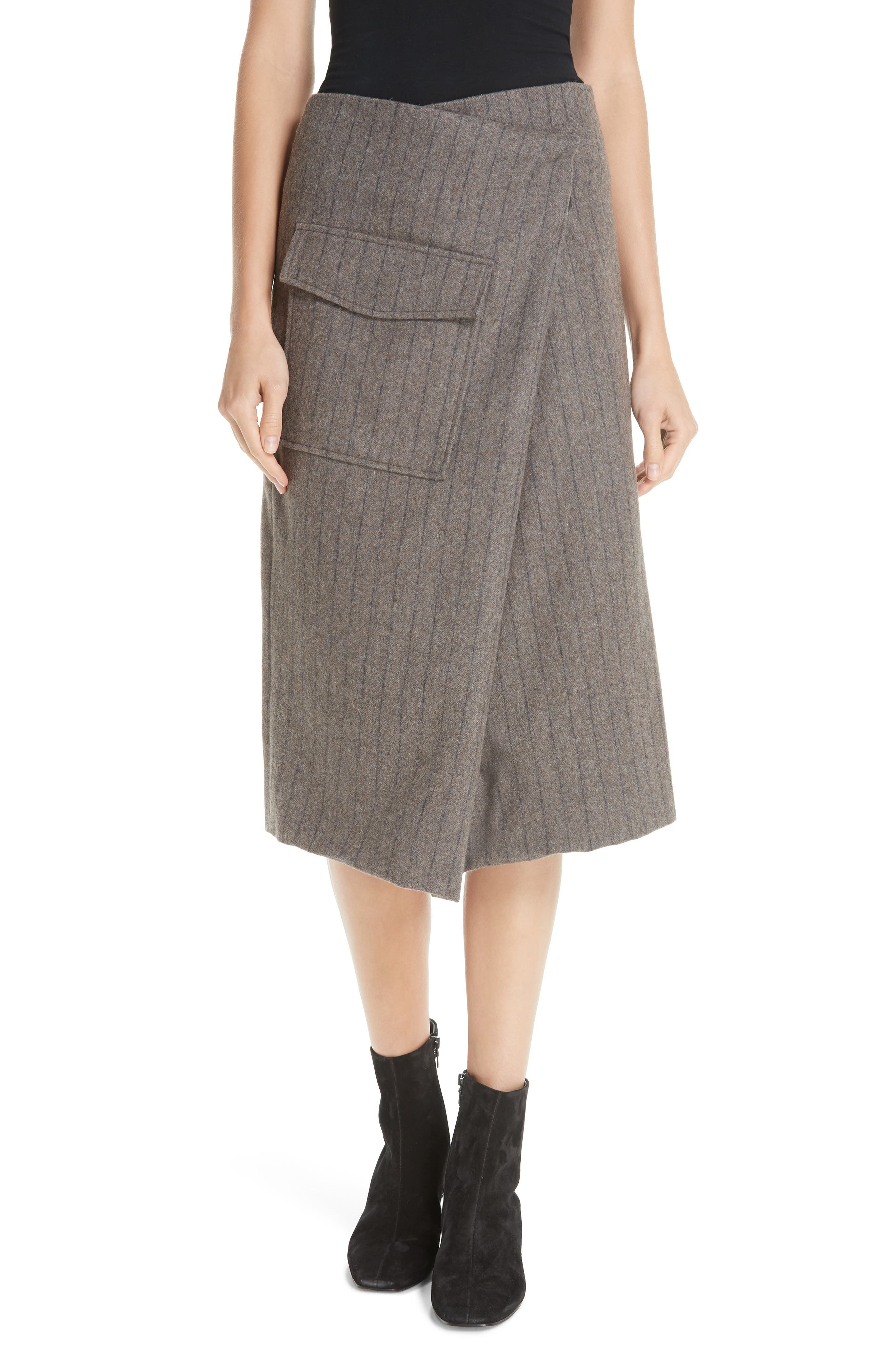 Noemie Pinstripe Wrap A-Line Skirt,                             Main thumbnail 1, color,                             STONE