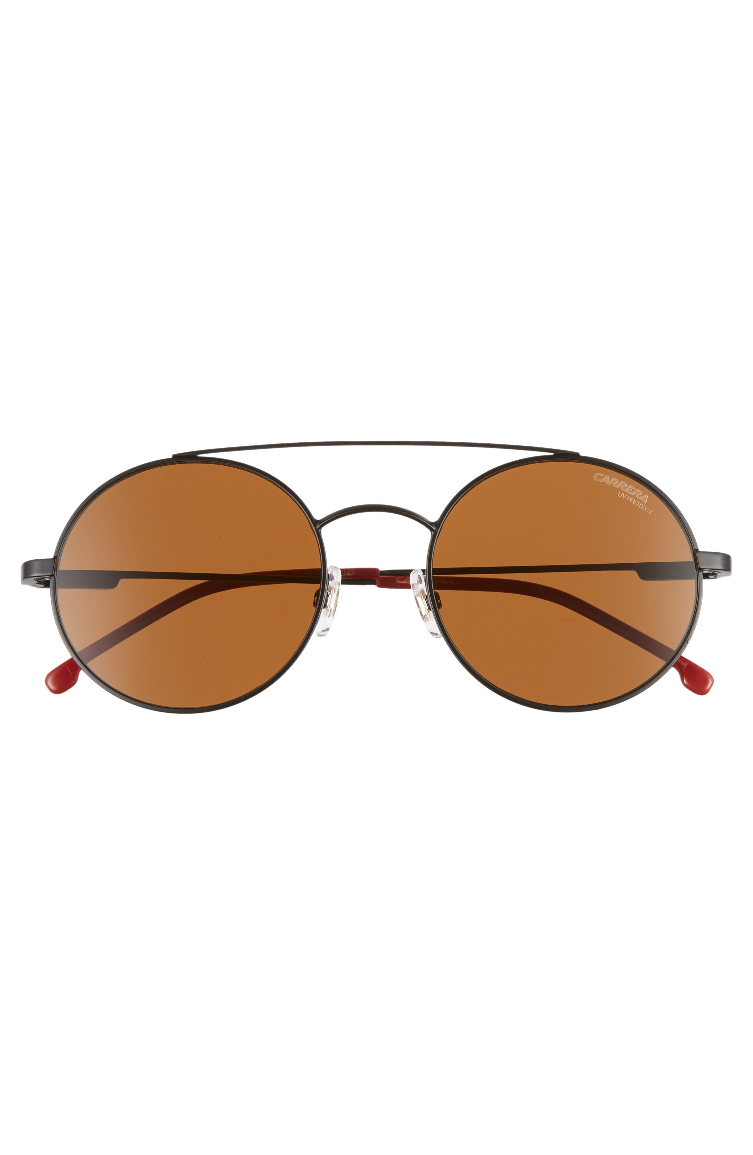 51mm Round Sunglasses,                             Alternate thumbnail 3, color,                             MATTE BLACK