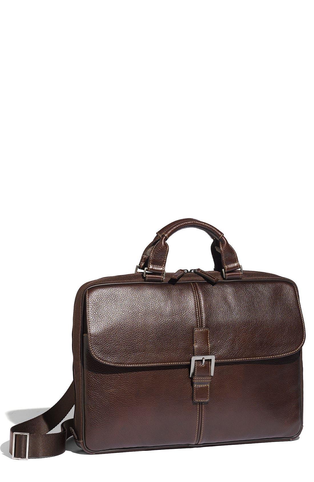 BOCONI,                             'Tyler' Tumbled Leather Portfolio Briefcase,                             Main thumbnail 1, color,                             BROWN