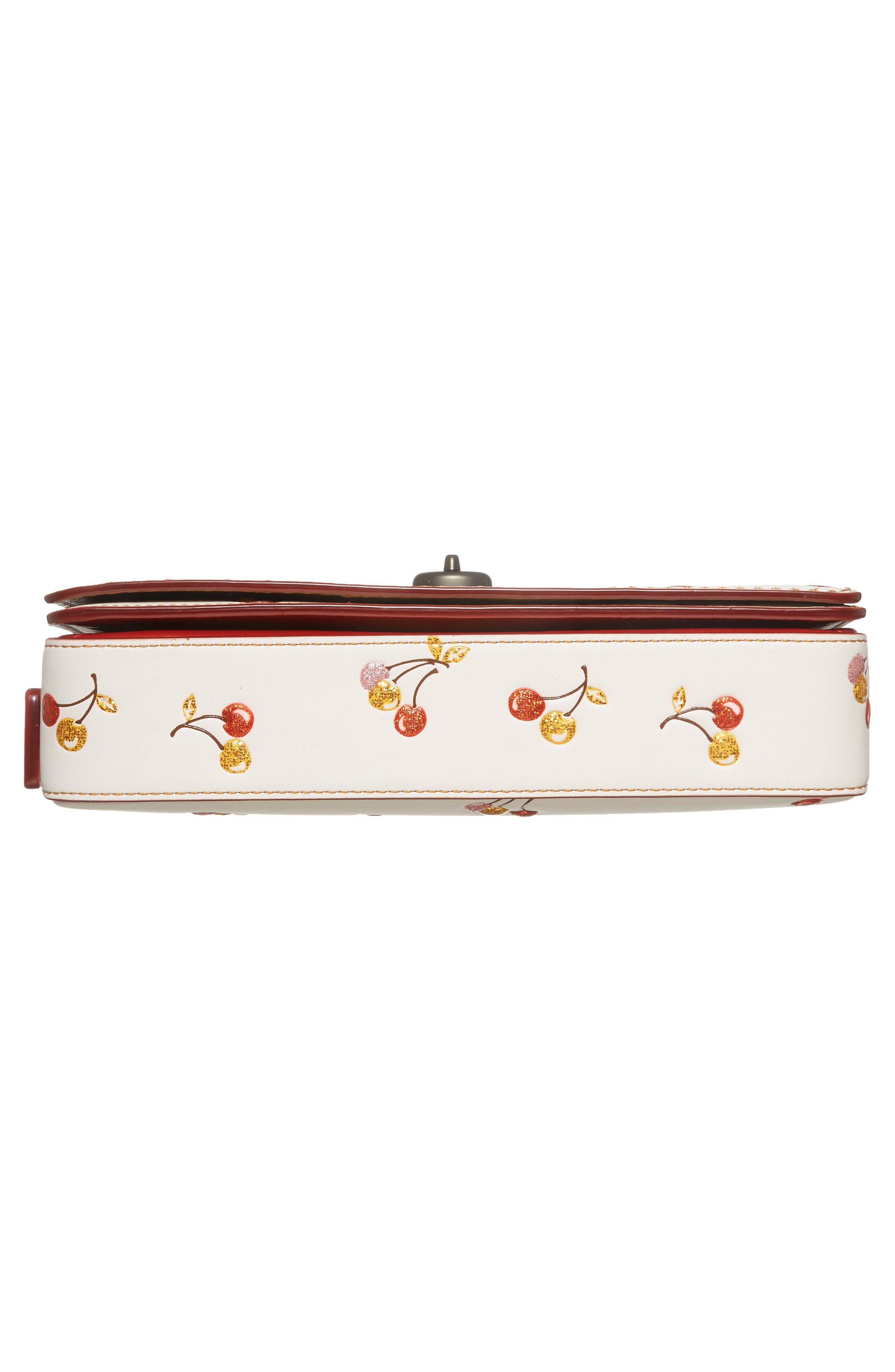 Cherries Dinky Leather Crossbody Bag,                             Alternate thumbnail 6, color,                             250