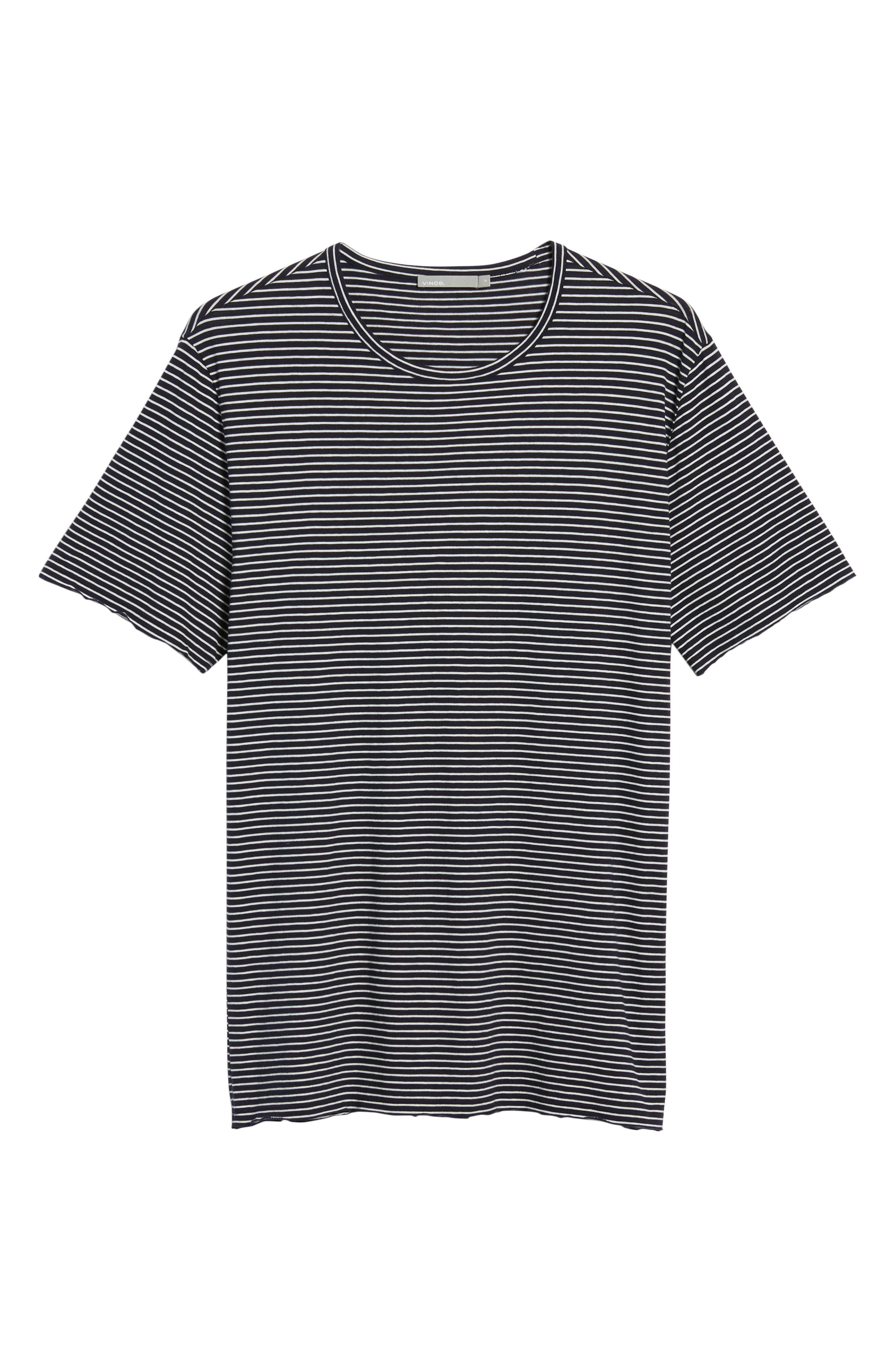 Stripe Crewneck T-Shirt,                             Alternate thumbnail 6, color,                             NEW COASTAL/ LECHE