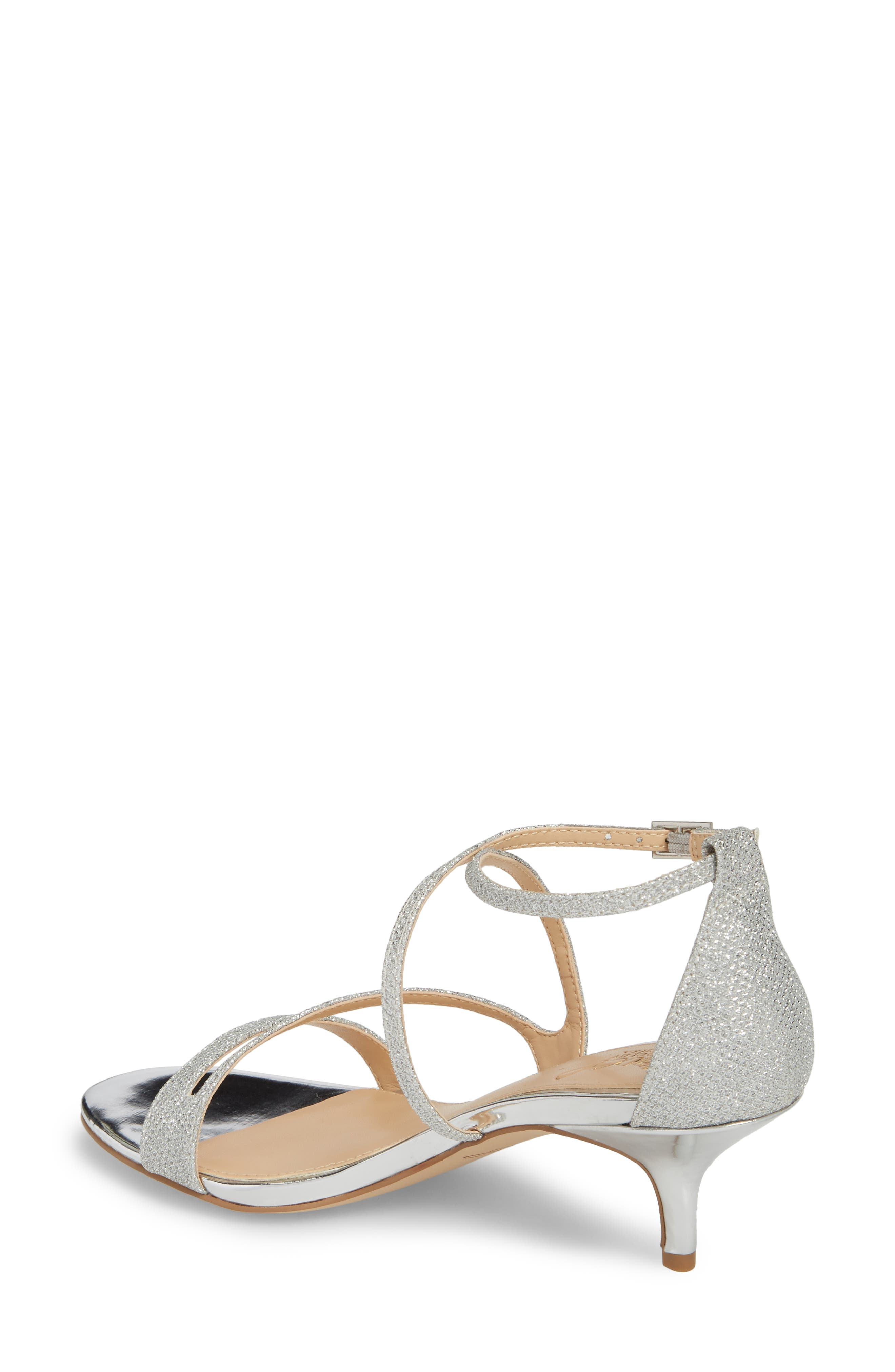 Gal Glitter Kitten Heel Sandal,                             Alternate thumbnail 2, color,                             SILVER GLITTER FABRIC