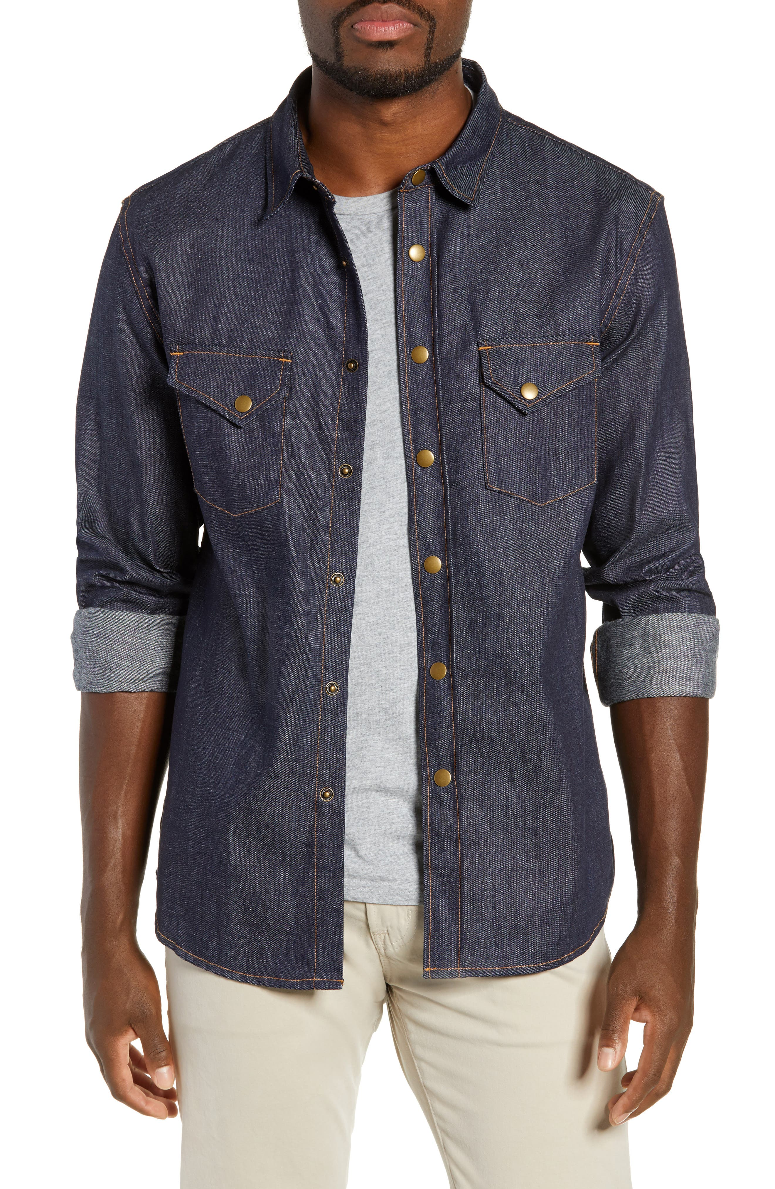Distressed Denim Western Shirt,                             Main thumbnail 1, color,                             DRY