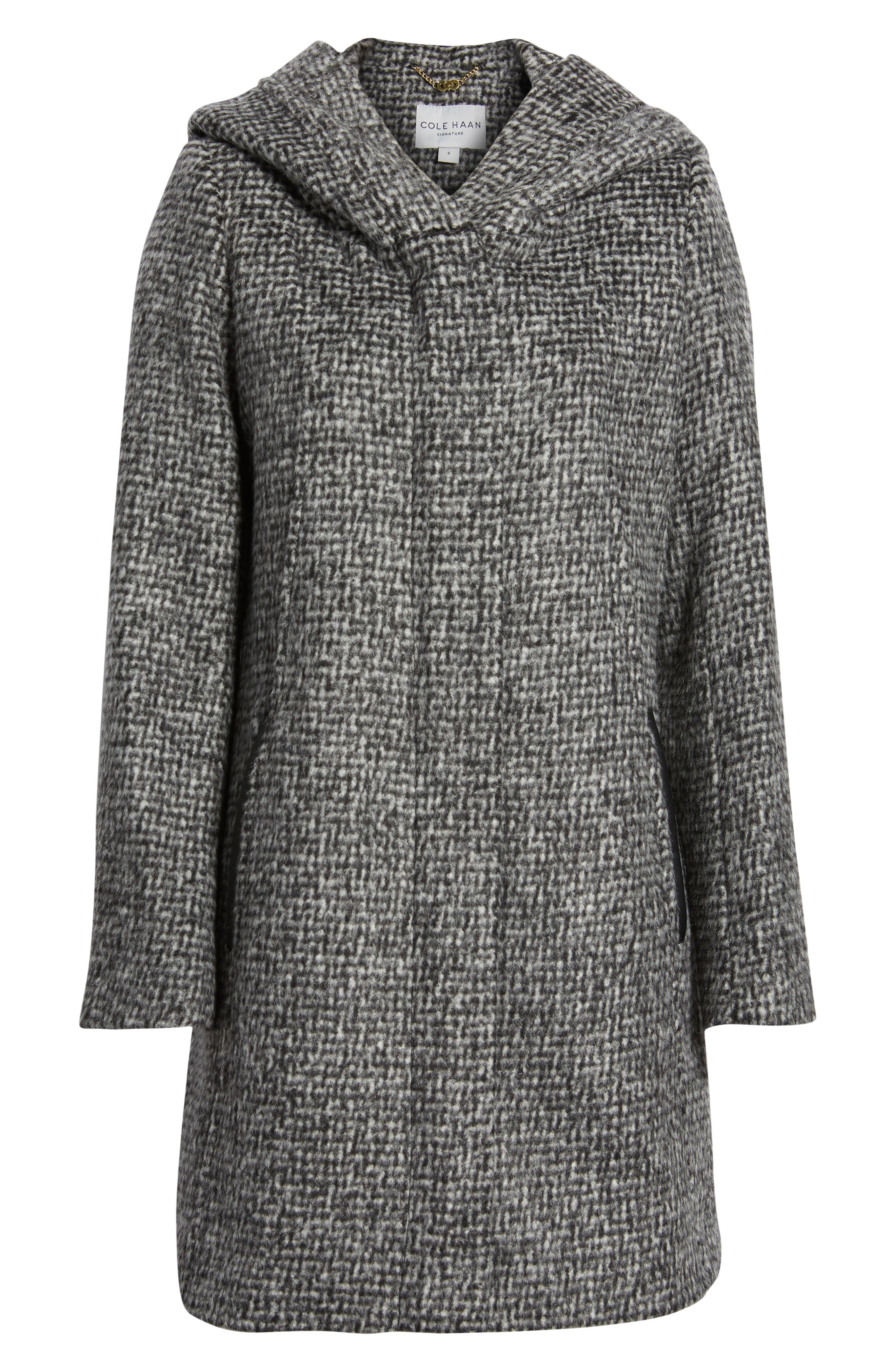 Fuzzy Houndstooth Coat,                             Alternate thumbnail 6, color,                             BLACK/ WHITE