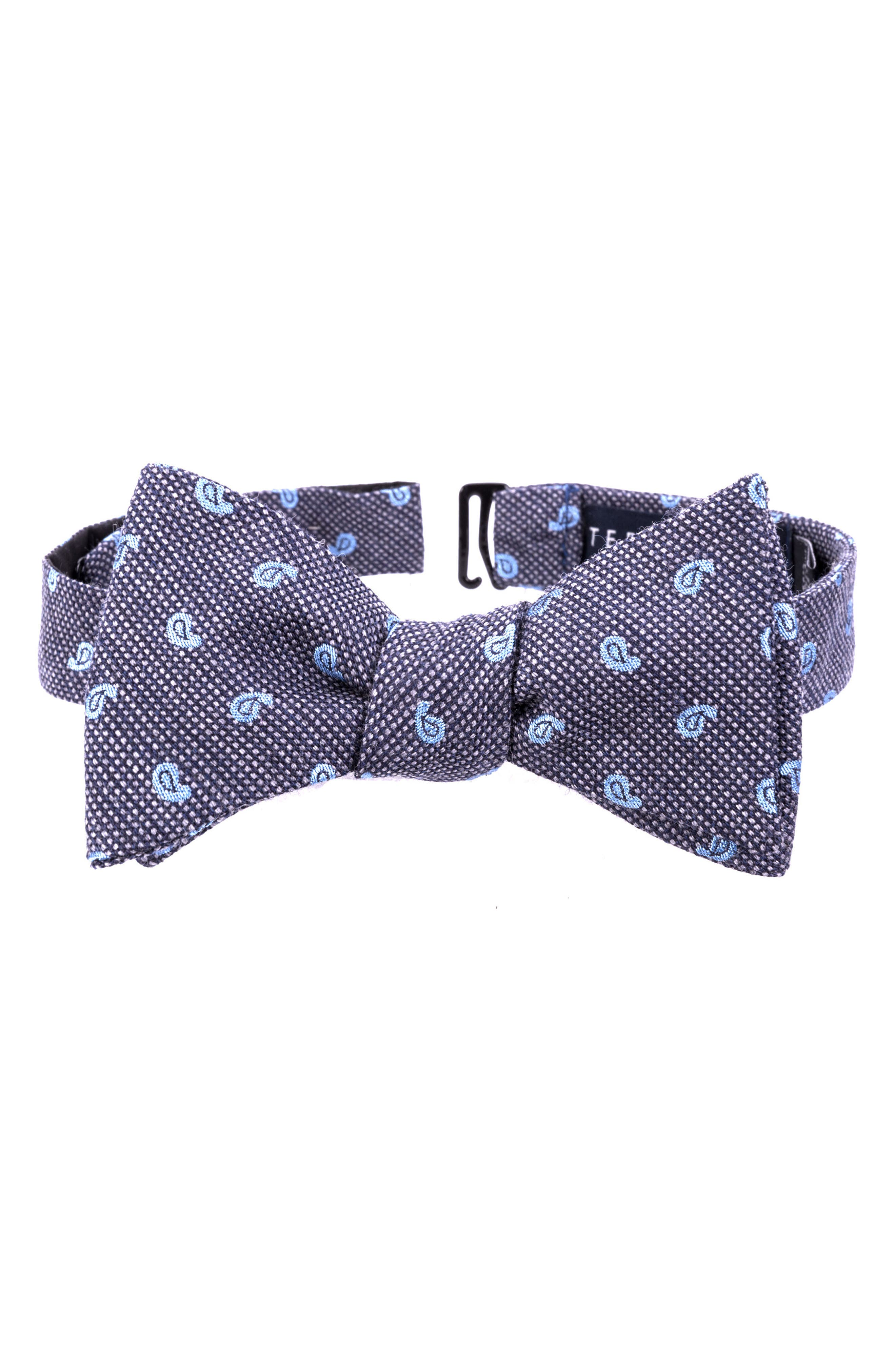 Paisley Silk & Wool Bow Tie,                             Main thumbnail 1, color,                             020