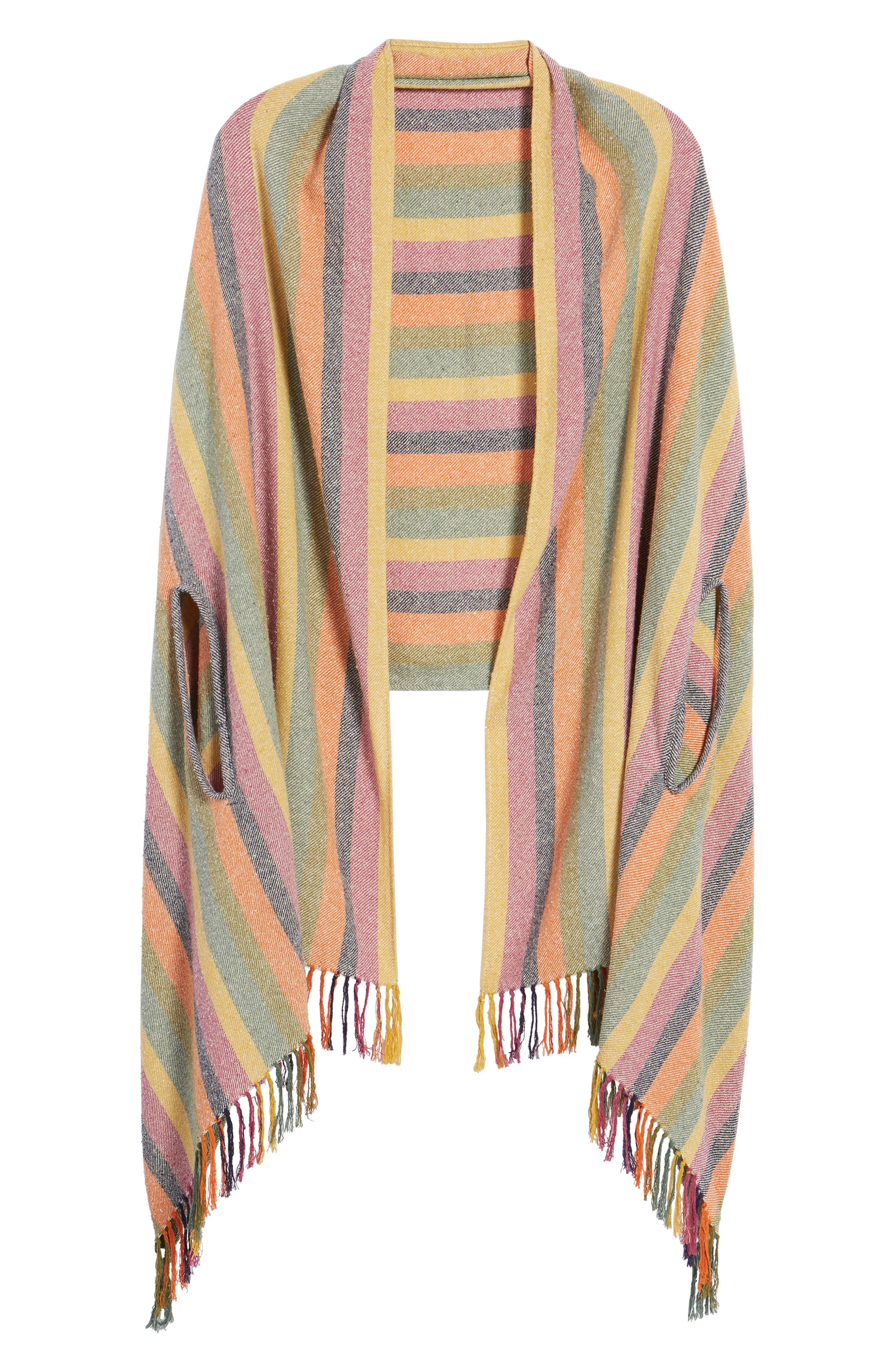 Rainbow Stripe Silk & Cotton Cape Scarf,                             Alternate thumbnail 6, color,                             650