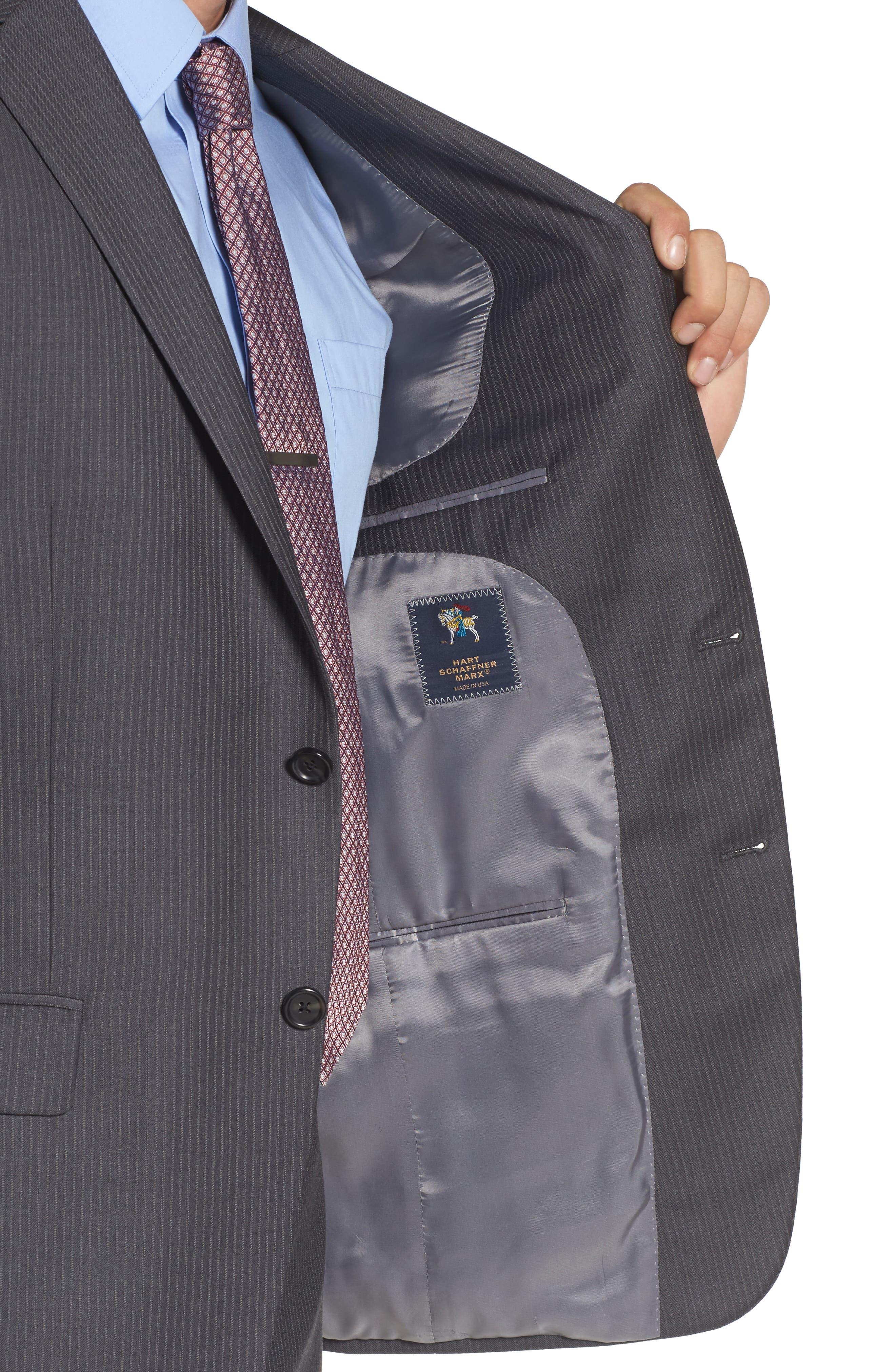 Classic Fit Stripe Wool Suit,                             Alternate thumbnail 4, color,                             030