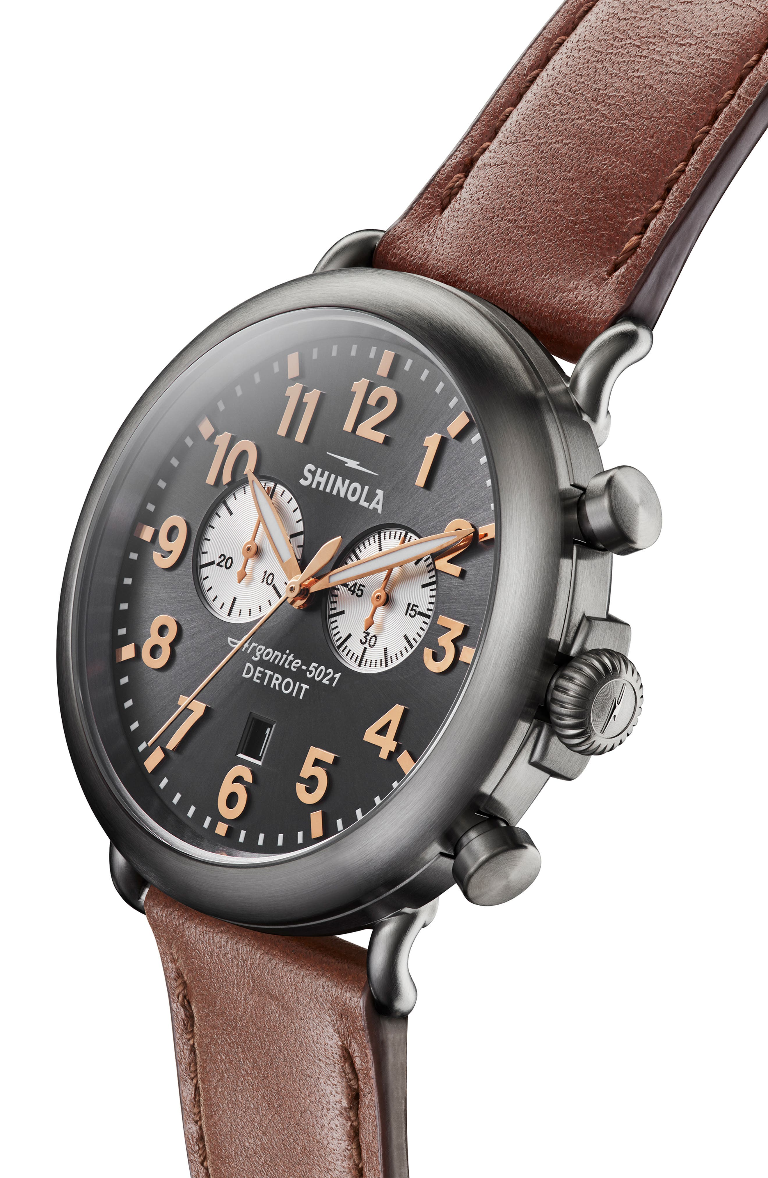 The Runwell Chrono Leather Strap Watch, 47mm,                             Alternate thumbnail 4, color,                             DARK COGNAC/ GUNMETAL/ GREY