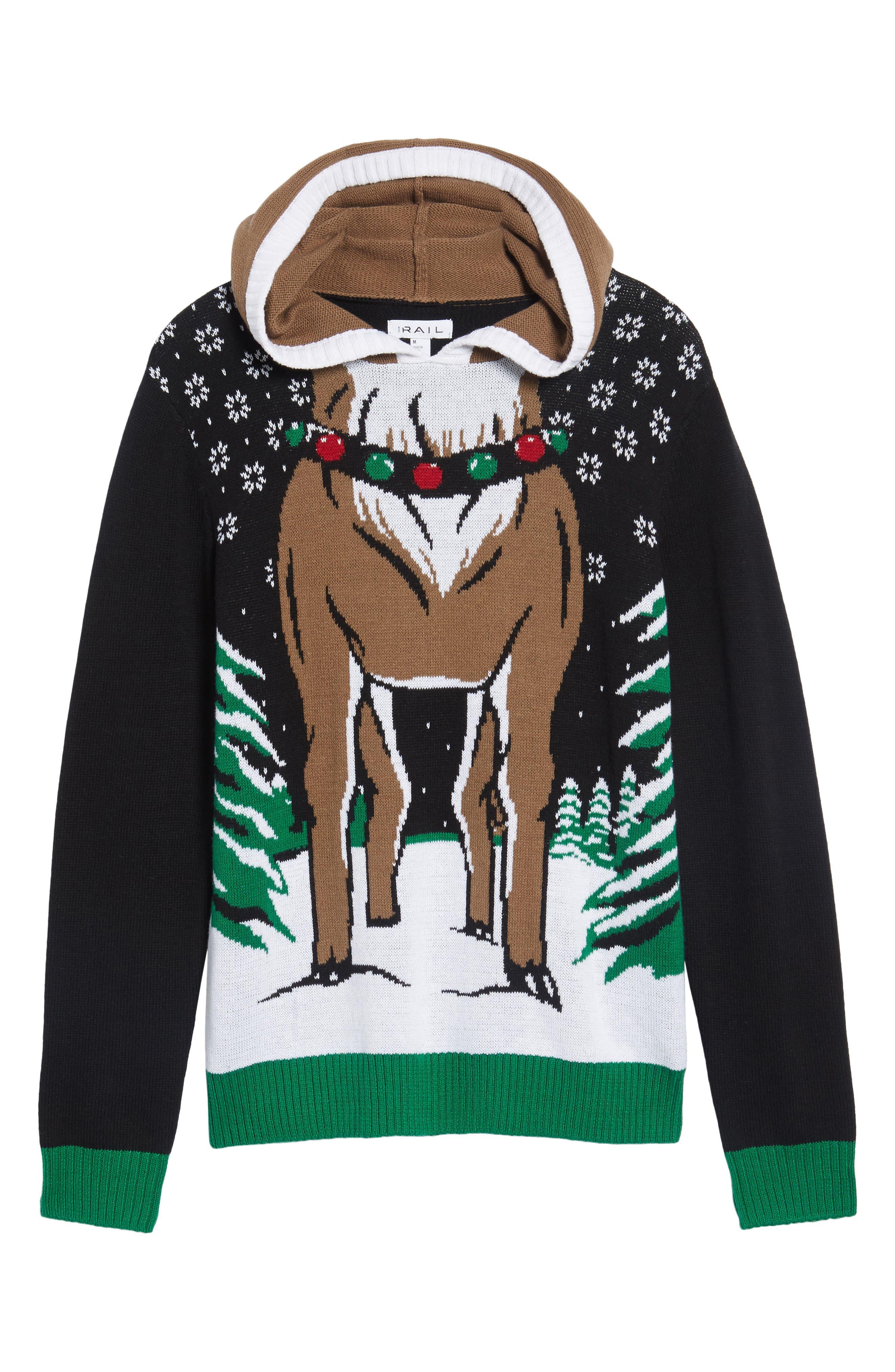 Reindeer Hooded Sweater,                             Alternate thumbnail 6, color,                             001