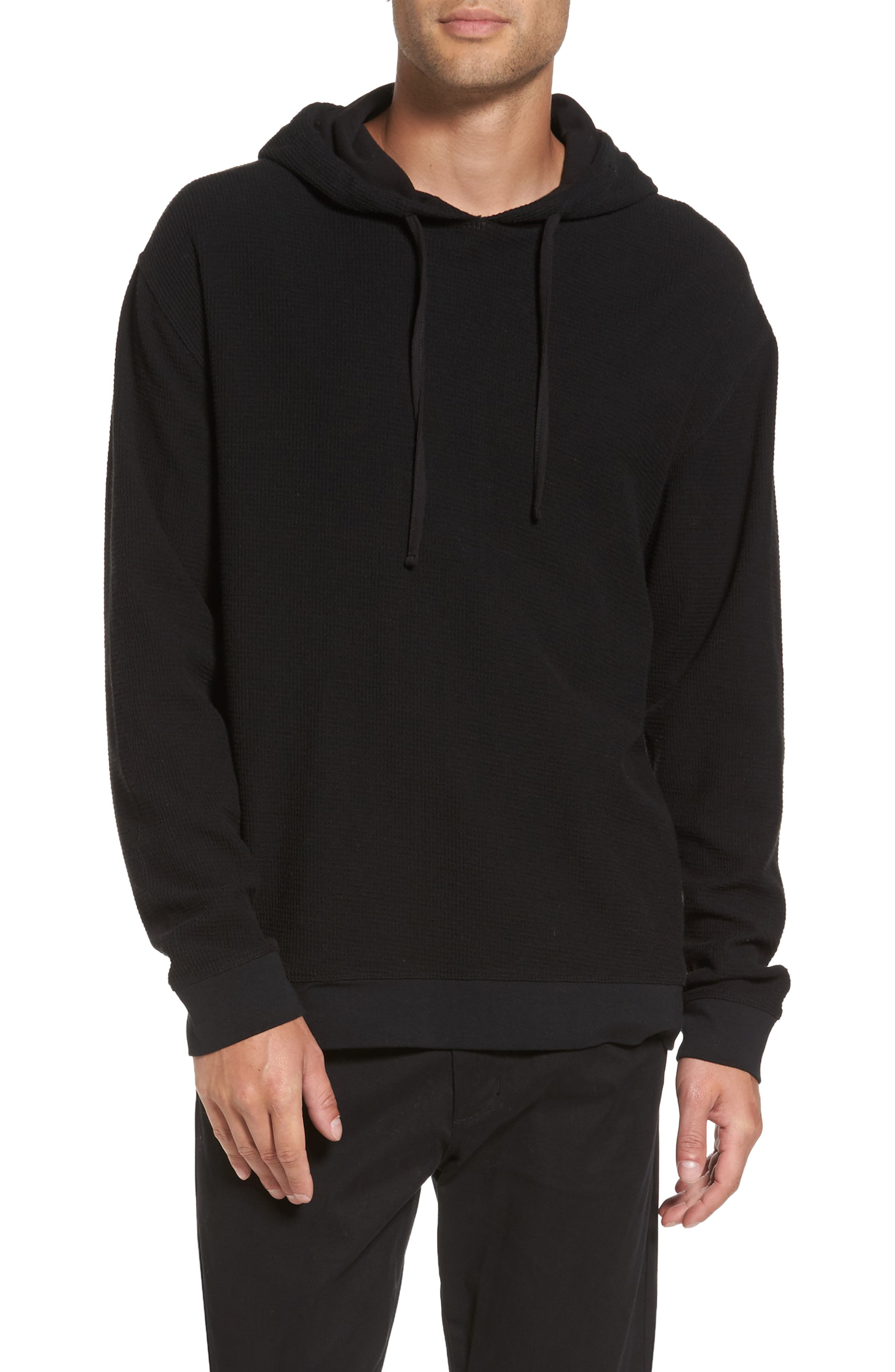 Waffle Knit Pullover Hoodie,                         Main,                         color, 001