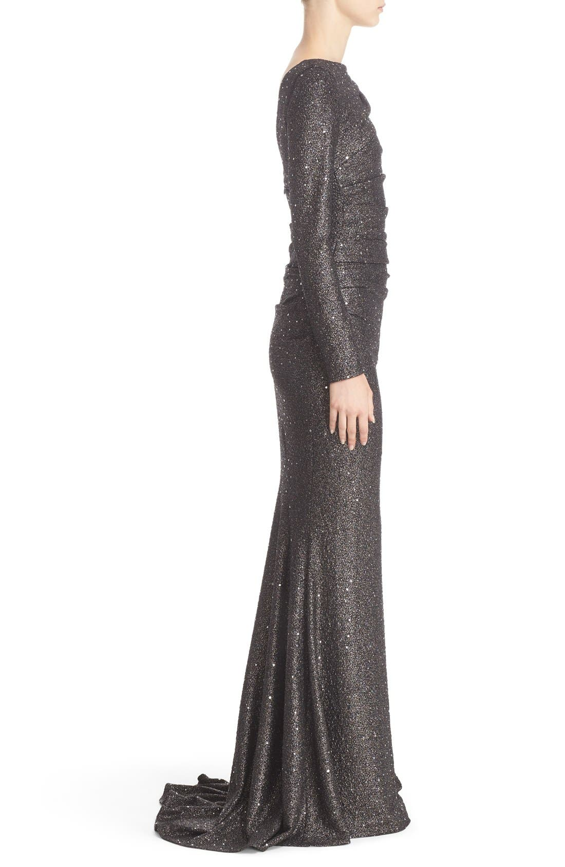 Sequin Glitter Jersey Ruched Gown,                             Alternate thumbnail 6, color,