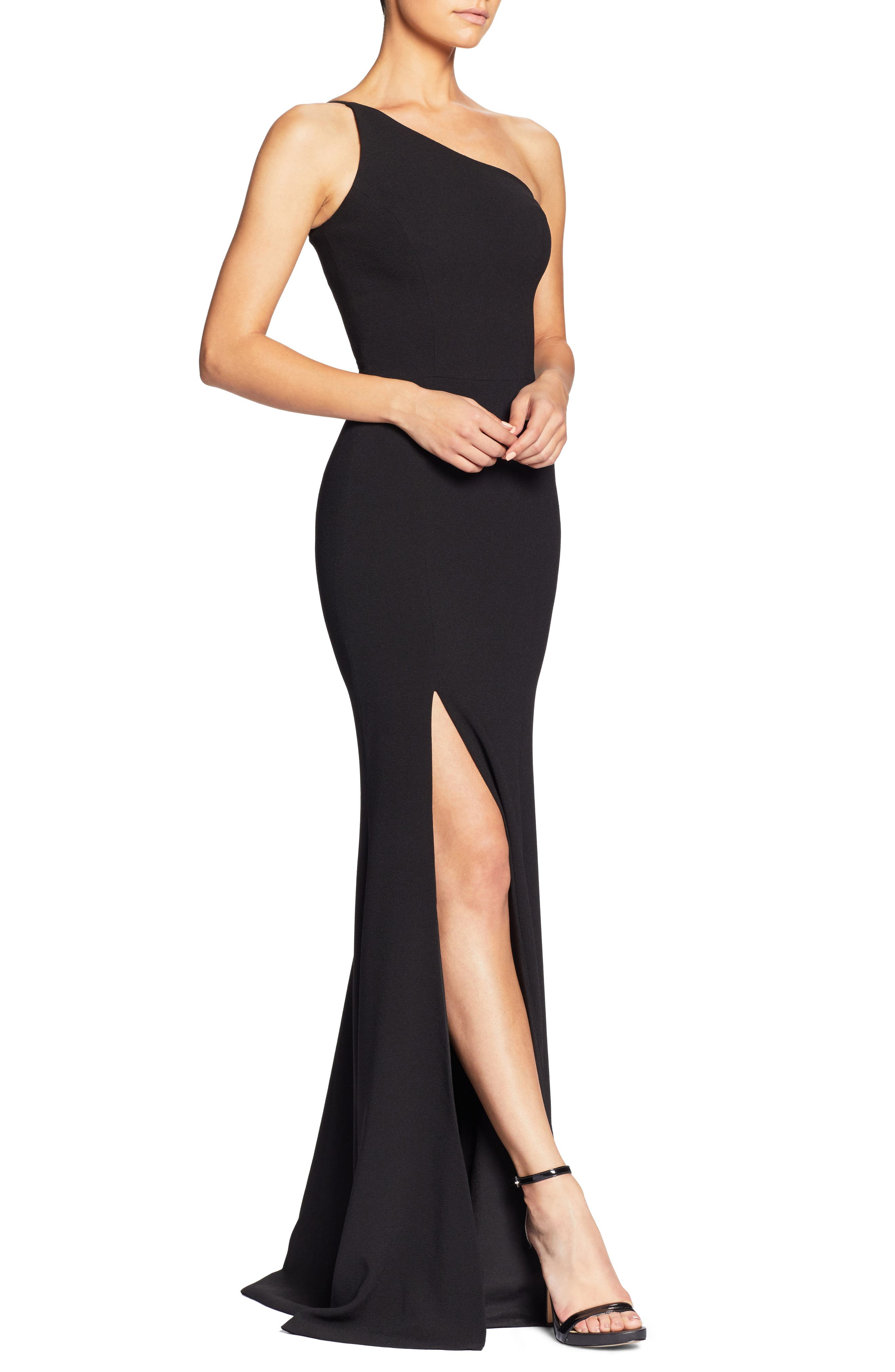DRESS THE POPULATION,                             Amy One-Shoulder Crepe Gown,                             Alternate thumbnail 3, color,                             001