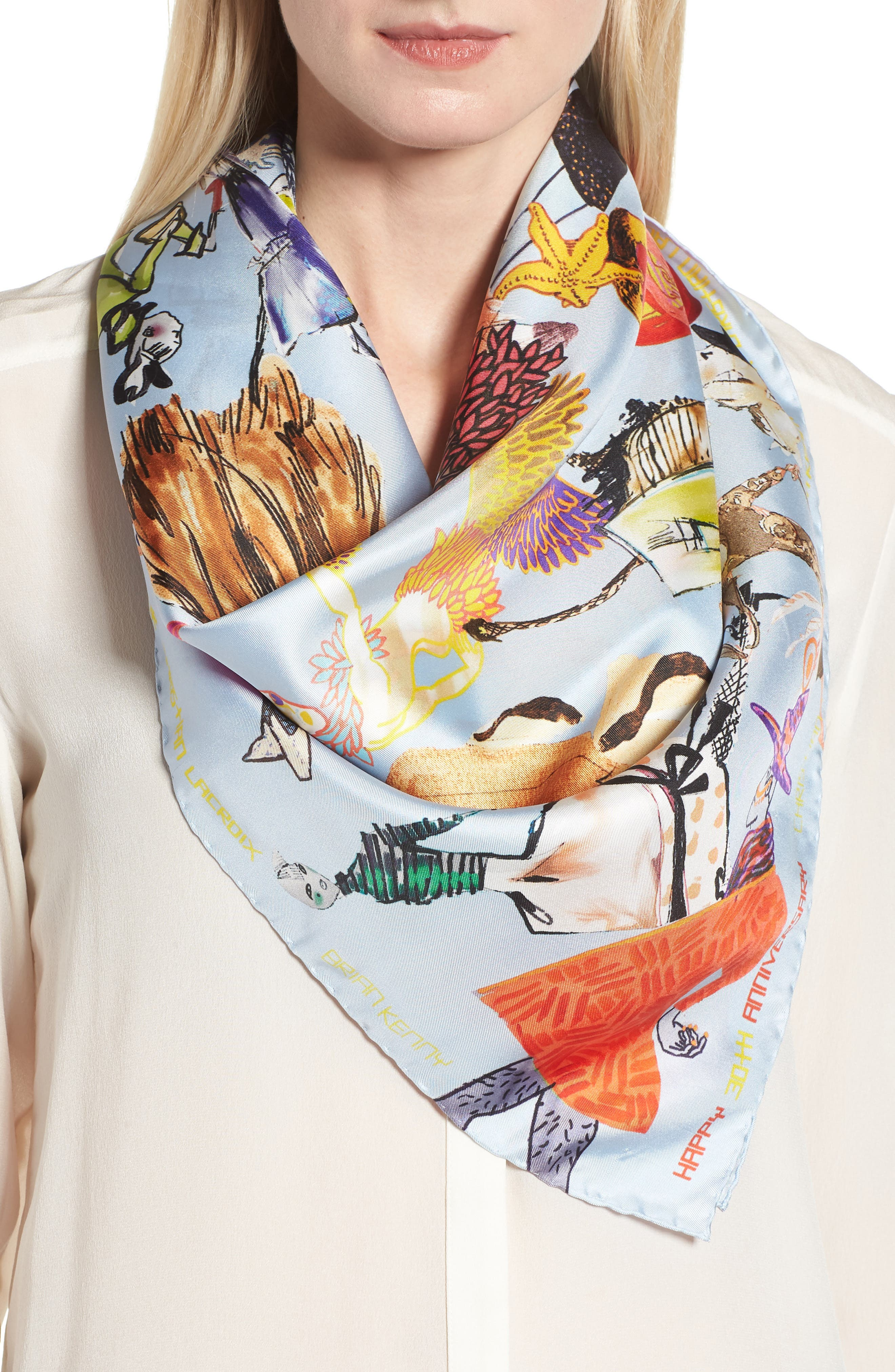 x Brian Kenny Sweetie Silk Scarf,                             Alternate thumbnail 2, color,                             419