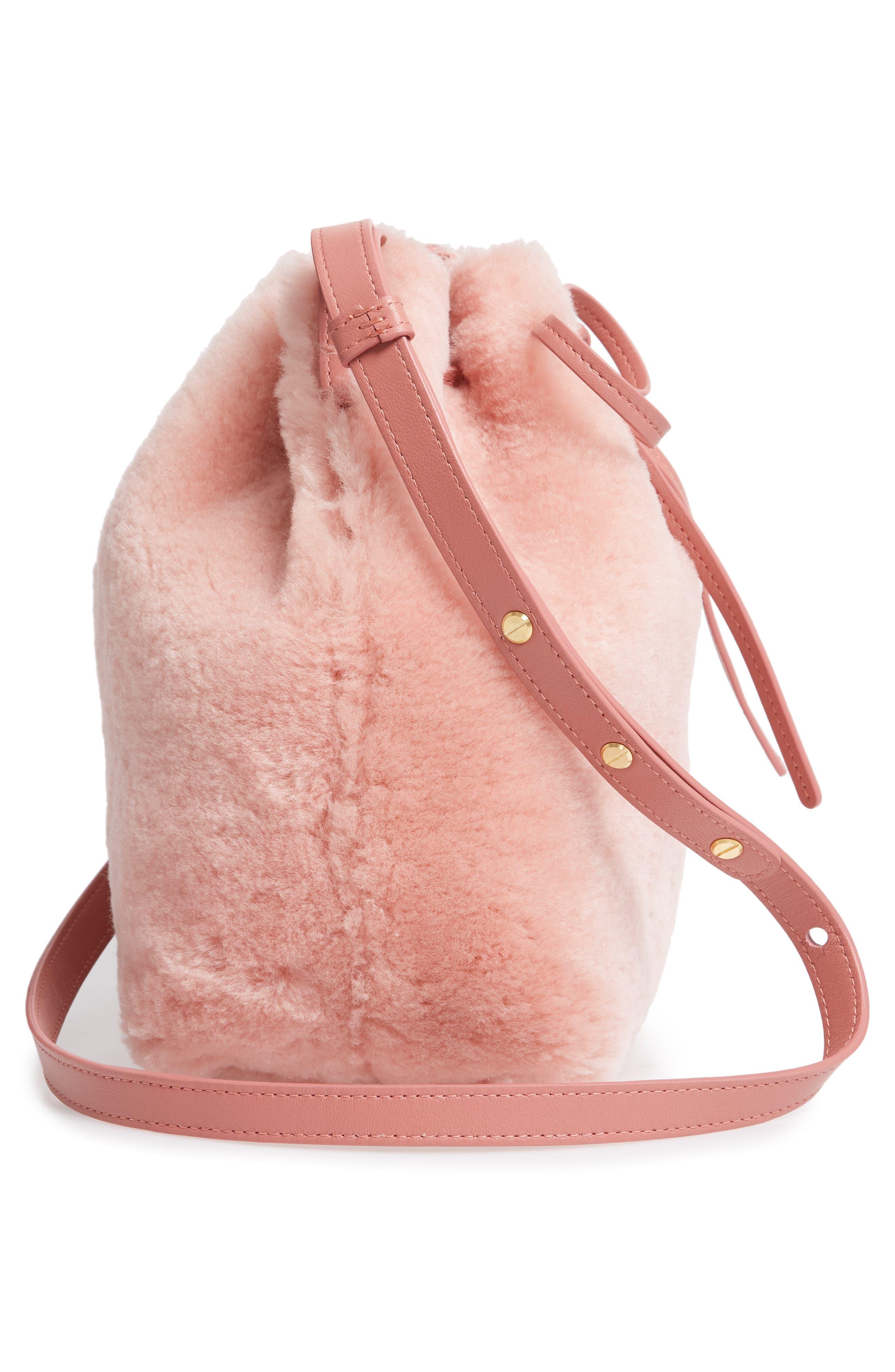 Mini Genuine Shearling Bucket Bag,                             Alternate thumbnail 5, color,                             BLUSH