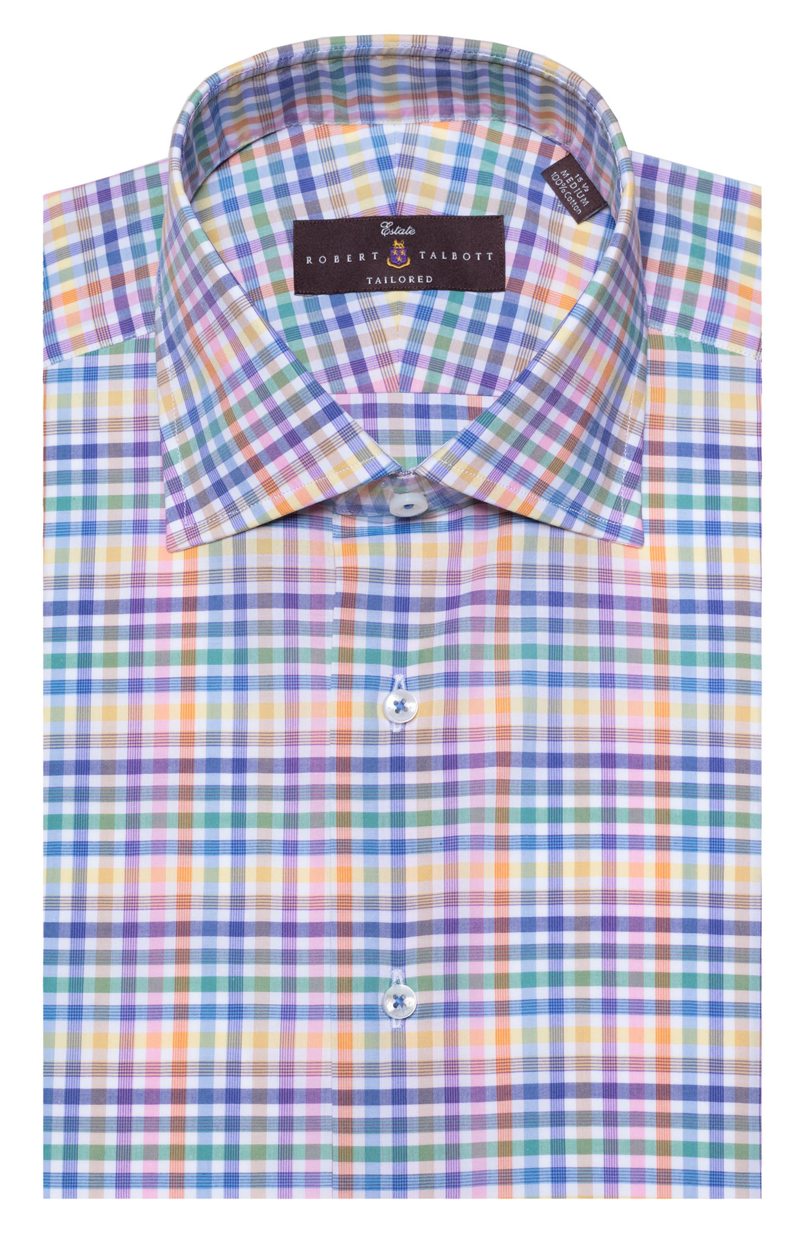Tailored Fit Plaid Dress Shirt,                         Main,                         color, LEMON