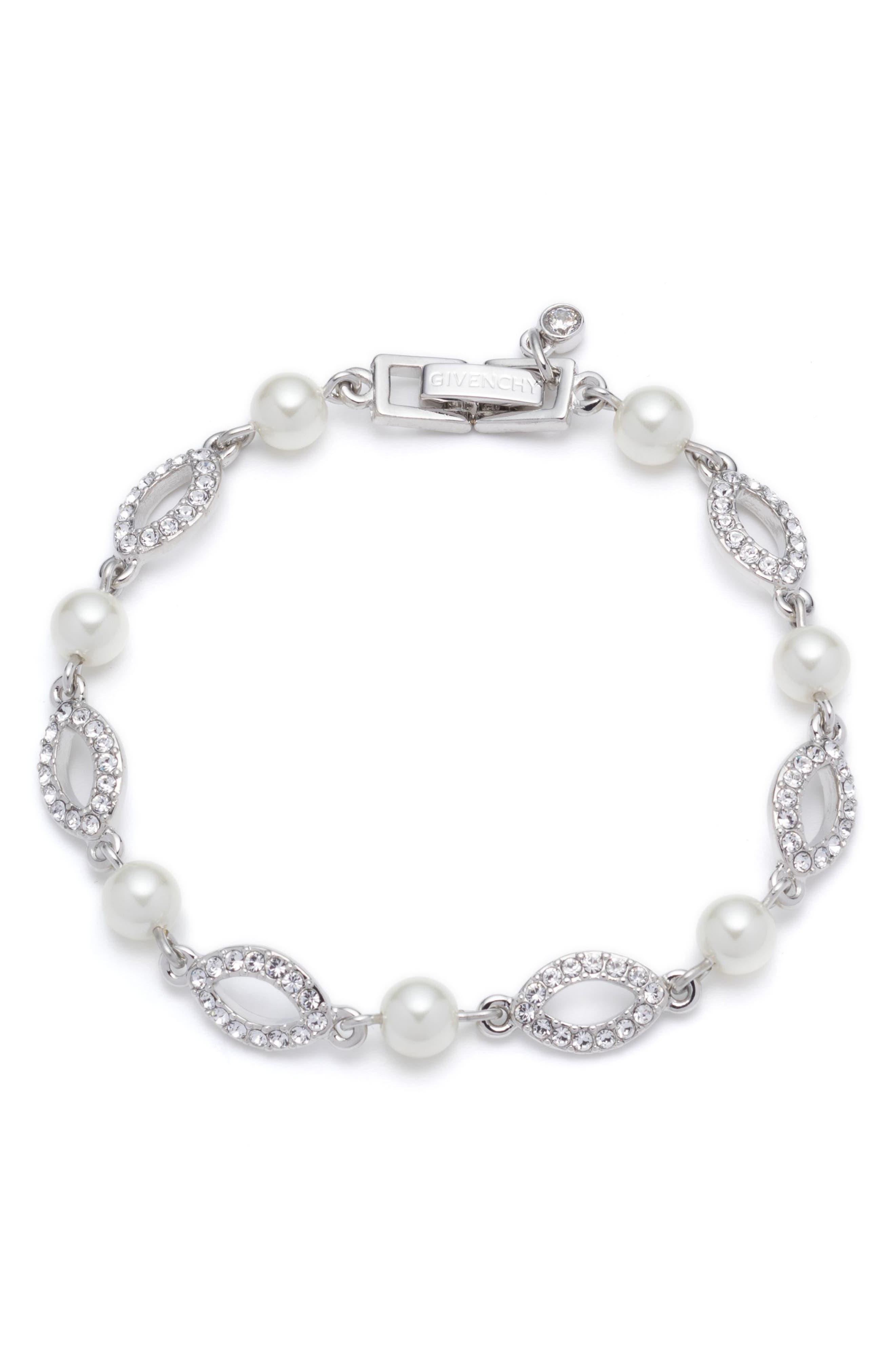 Imitation Pearl & Crystal Line Bracelet,                         Main,                         color,