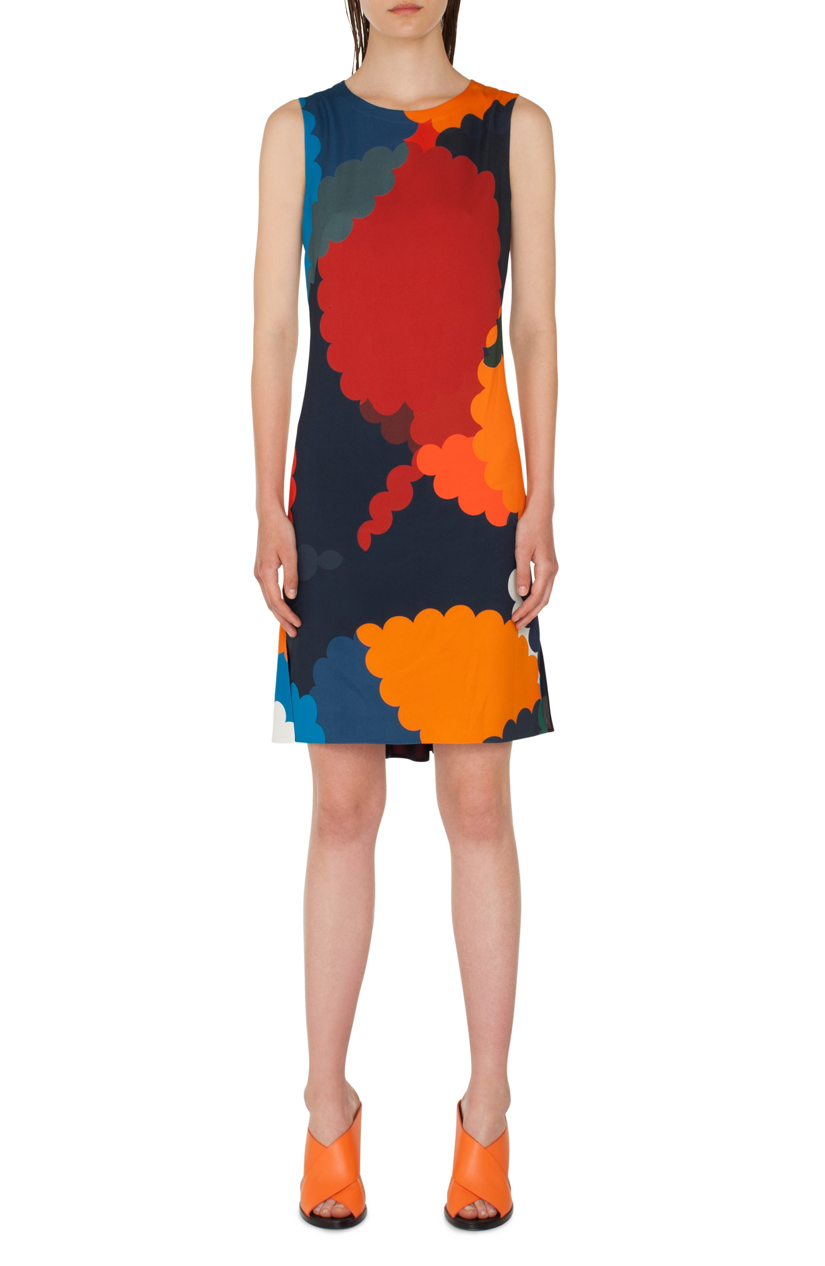 Nuvola Print Shift Dress, Main, color, BLU MARE-MULTICOLOR