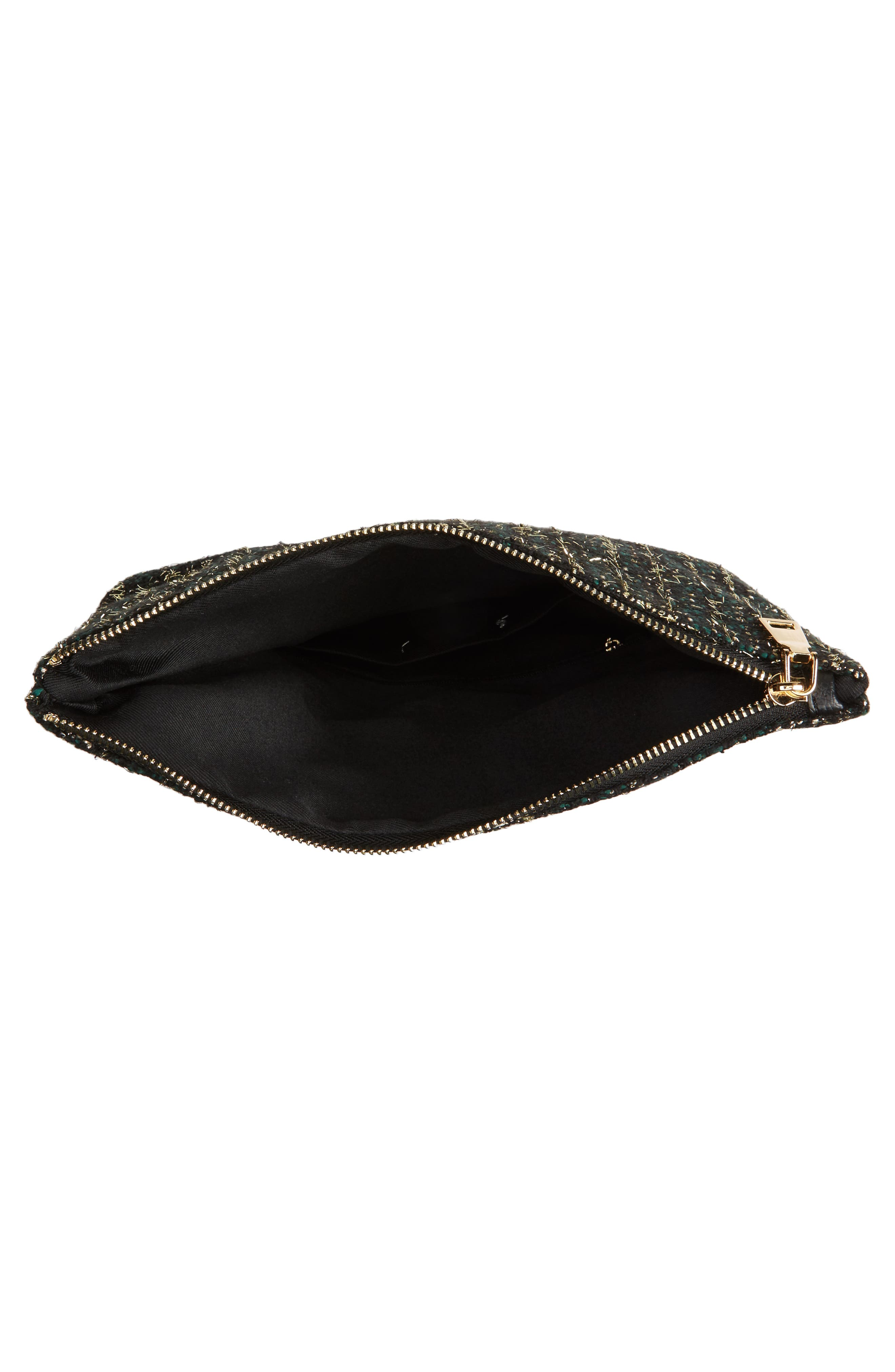 Tweed Foldover Clutch,                             Alternate thumbnail 4, color,