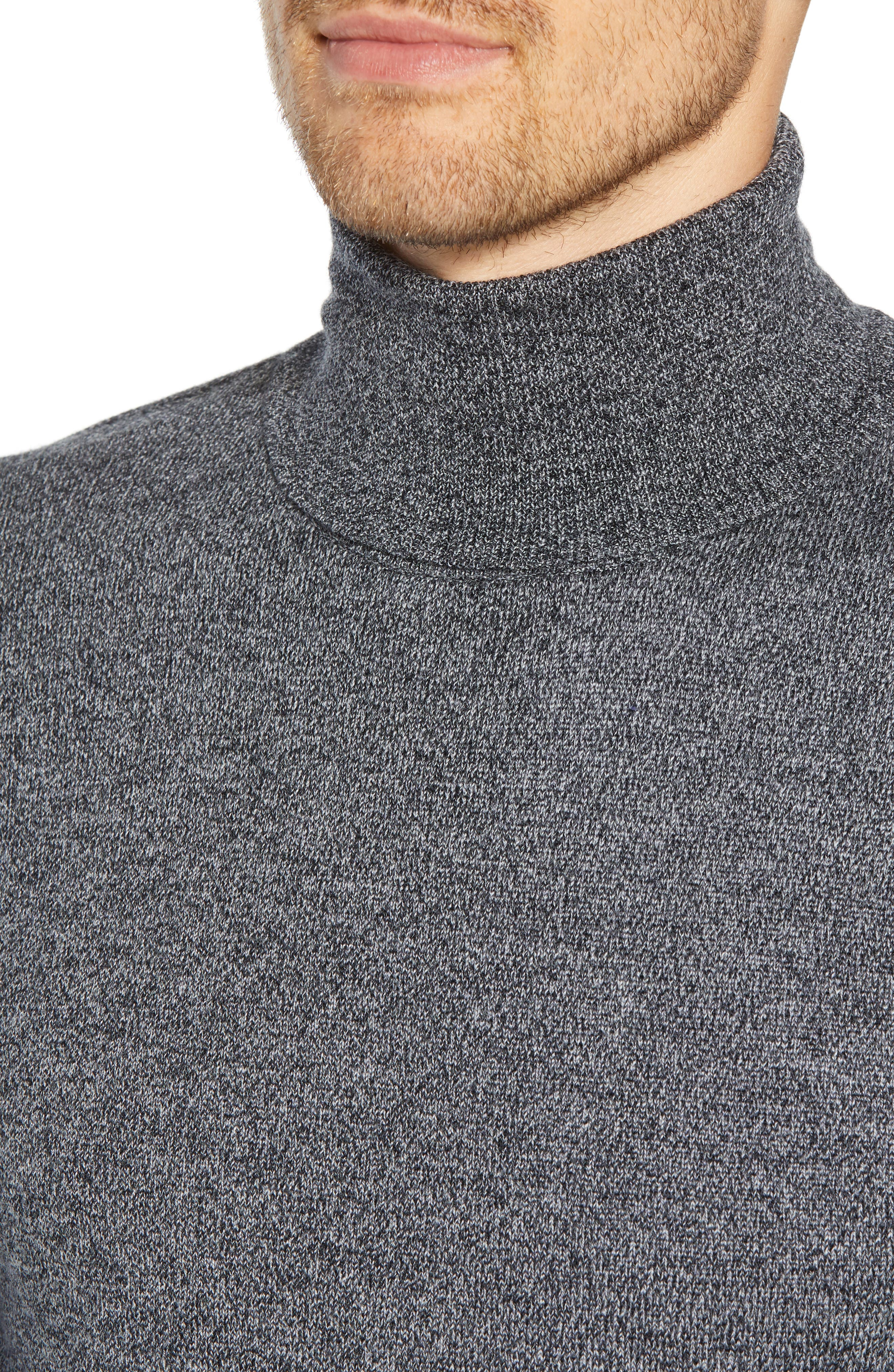 Slim Fit Turtleneck Merino Wool Sweater,                             Alternate thumbnail 4, color,                             CHARCOAL MARL