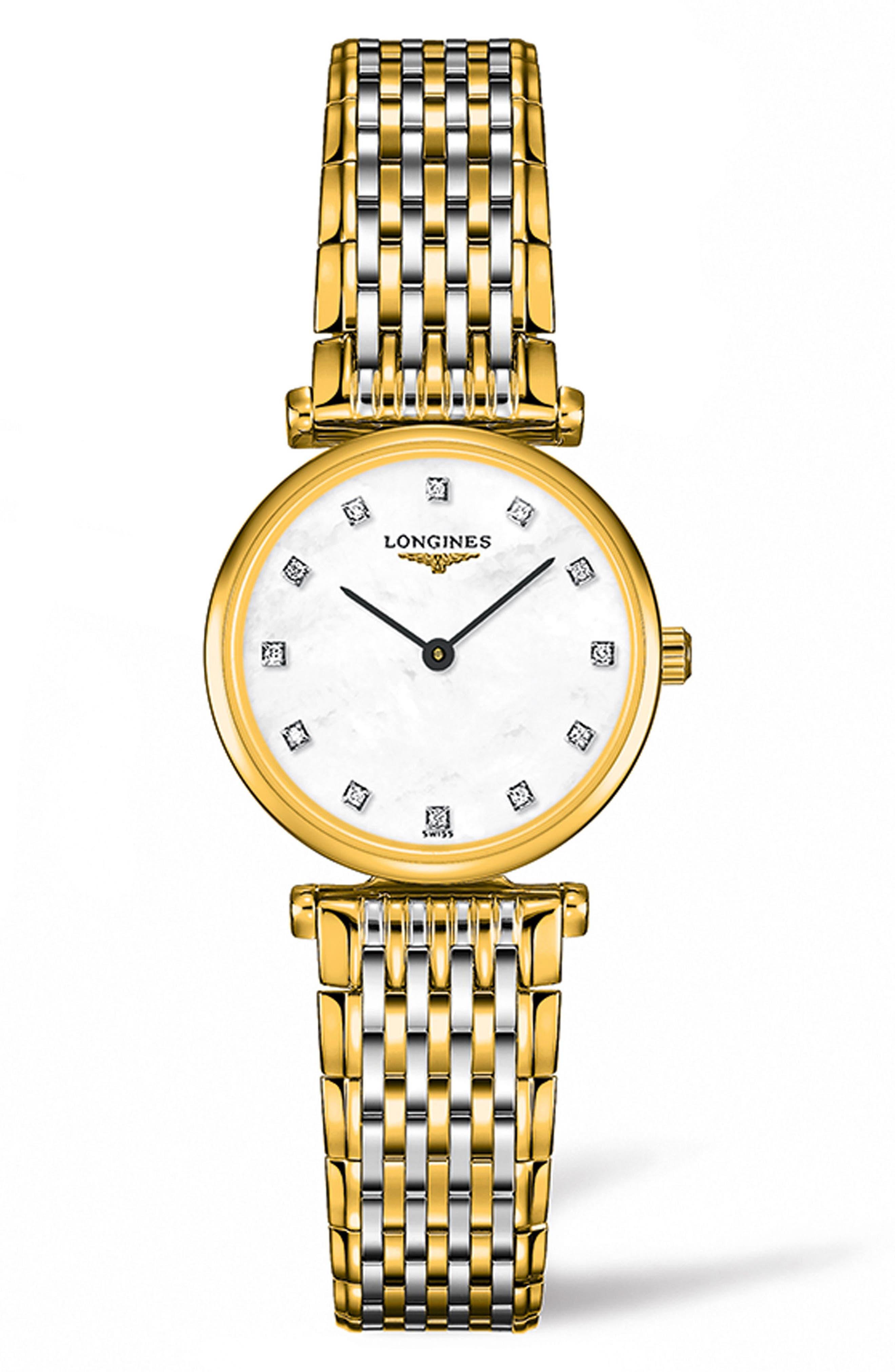 La Grande Classique de Longines Diamond Bracelet Watch, 24mm,                             Main thumbnail 1, color,                             SILVER/ MOP/ GOLD